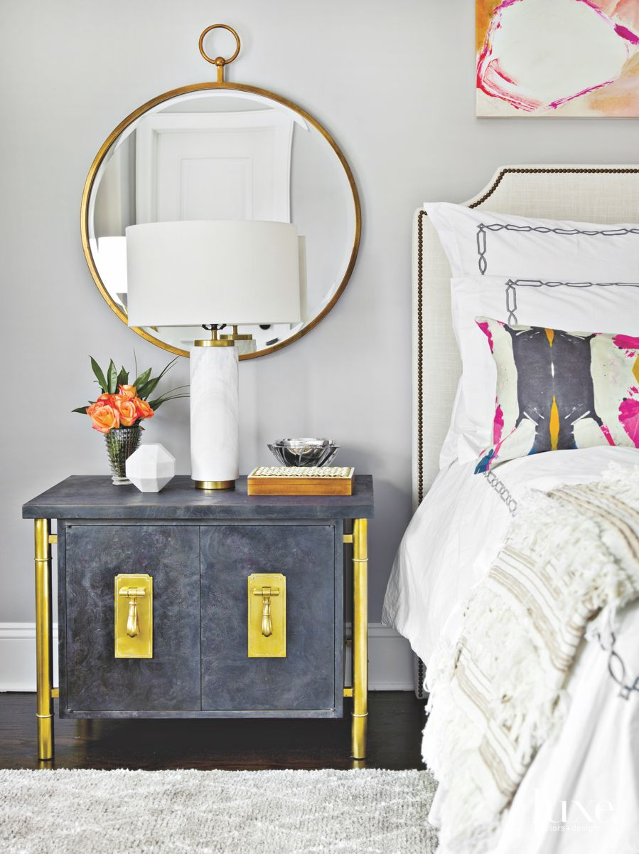 Cozy Hiatus Master Bedroom Vignette with Nightstand and Mirror