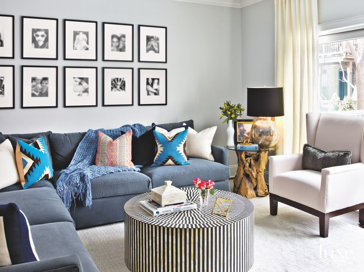 Photo Wall Living Room with Blue and Textural Details