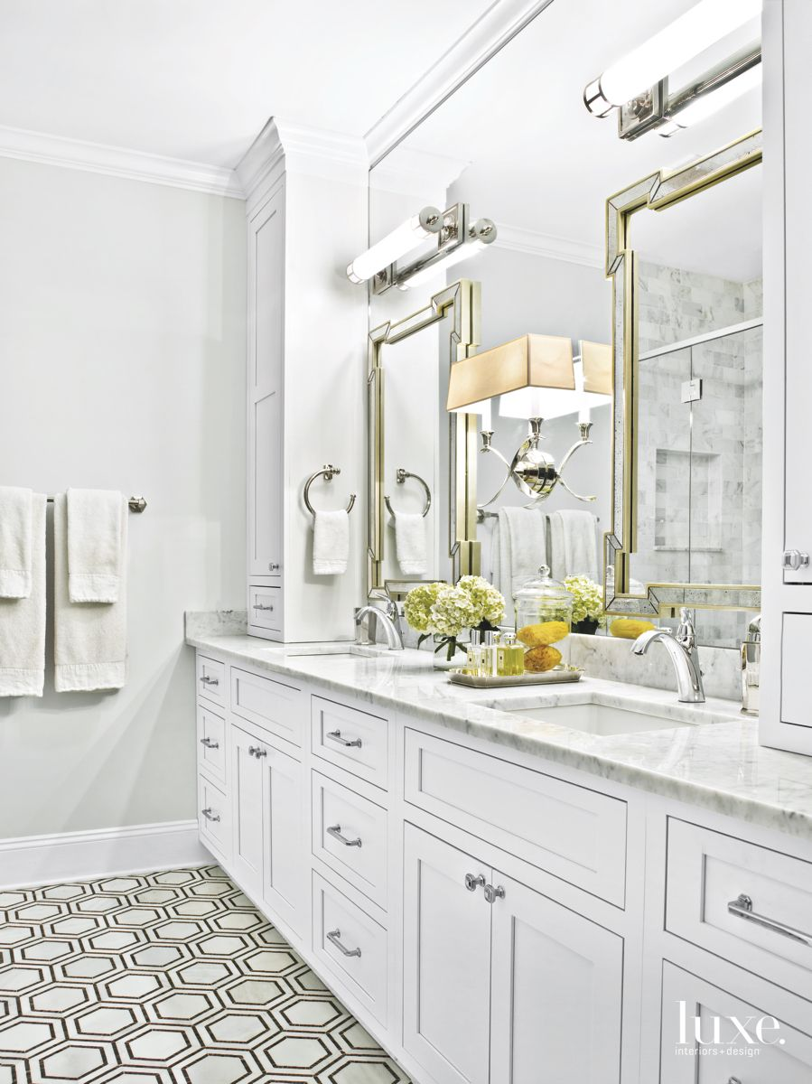Hexagonal Tile White Master Bathroom with Lighting