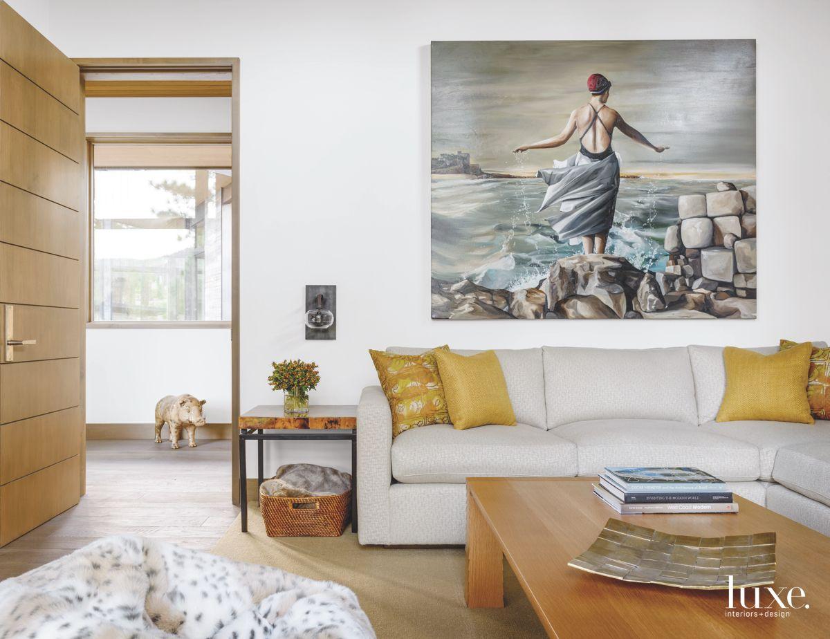 Cedar Media Room with Paintings