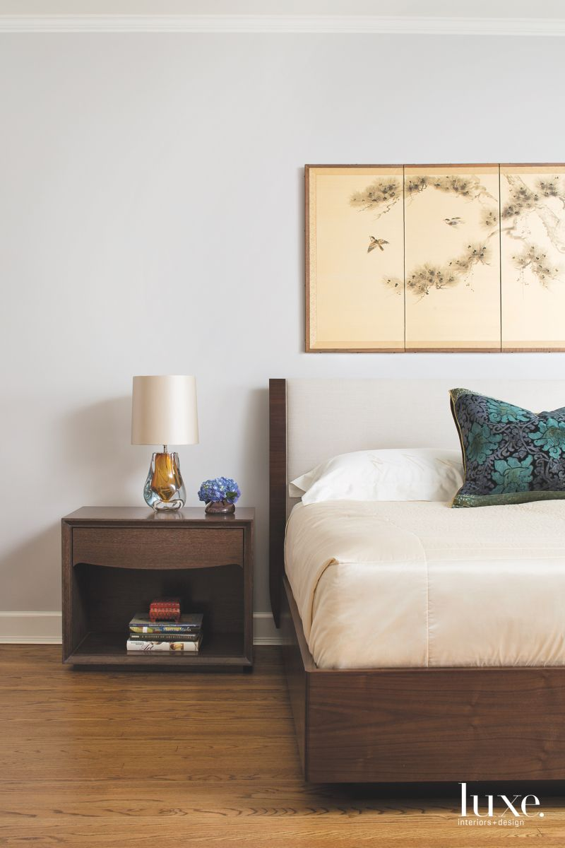 Asian Art Master Bedroom with Neutral Upholstered Headboard