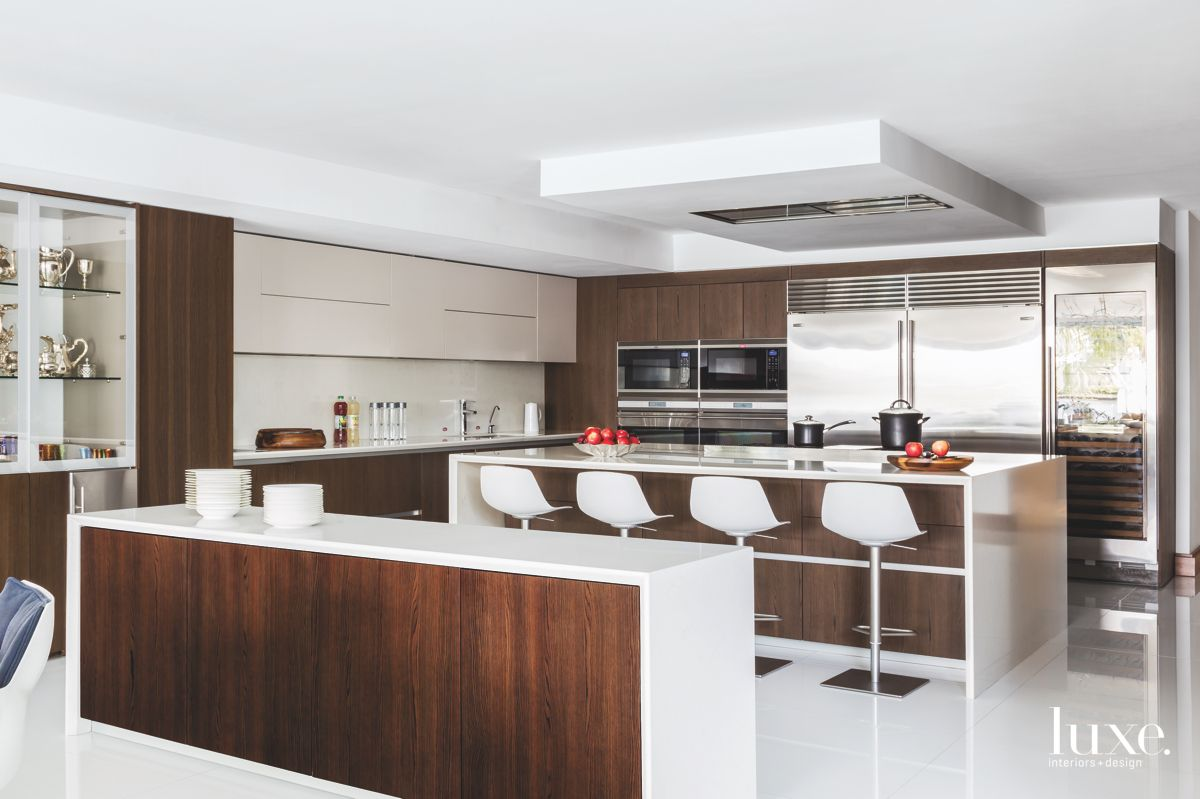 European Style Wood and White Kitchen With Seating Island