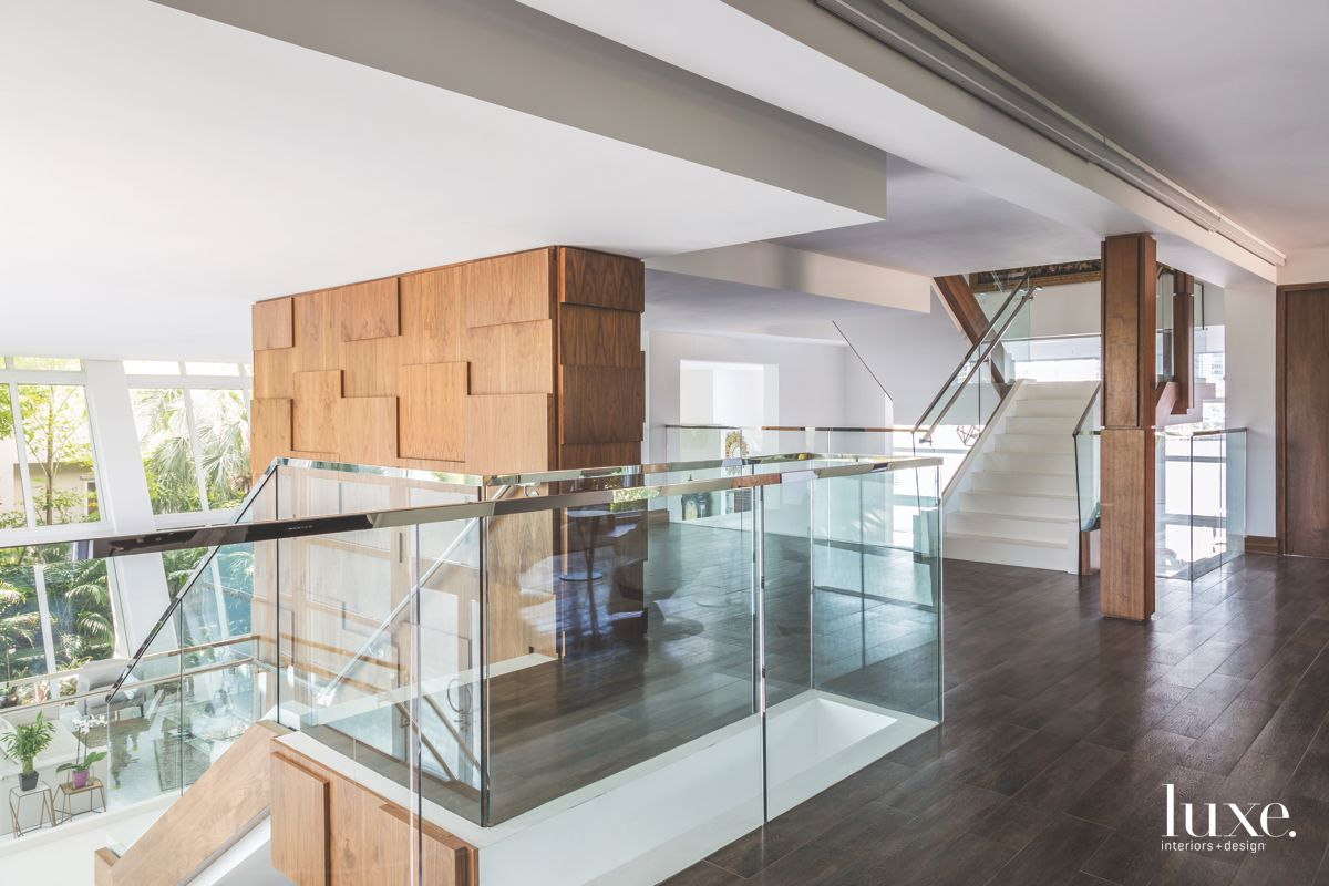Square and Rectangular Walnut Centerpiece with Glass Stairs