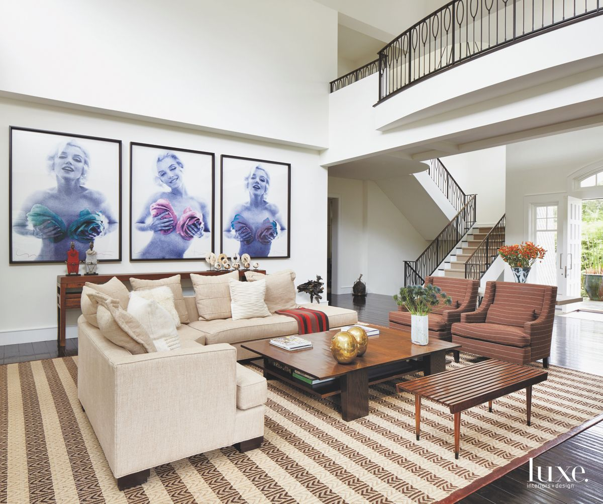 Marilyn Monroe Photography Living Room with Striped Neutral Carpet and Seating