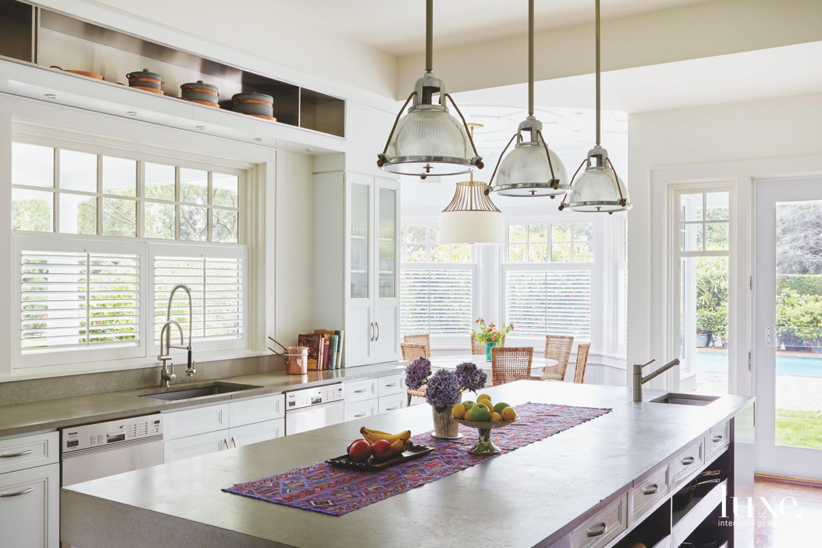 Simple Country White Kitchen with Shutters Island and Pendant Lighting