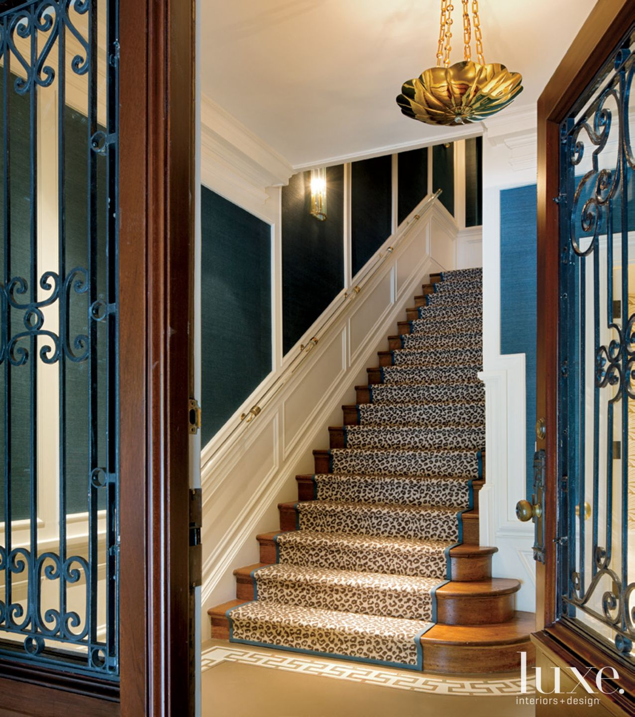 Eclectic Blue Staircase with Animal Print Runner