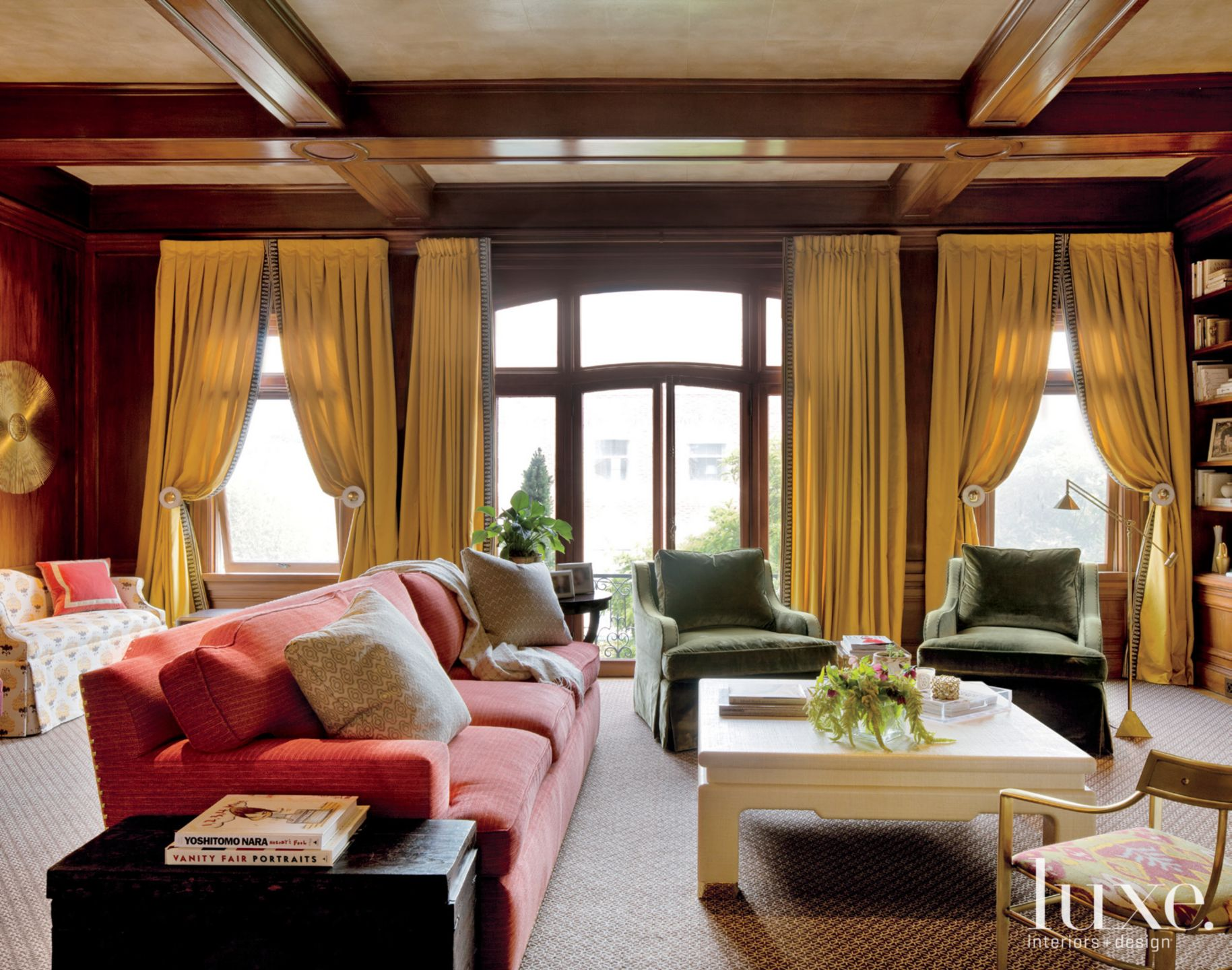 Eclectic Brown Living Room with Yellow Drapes