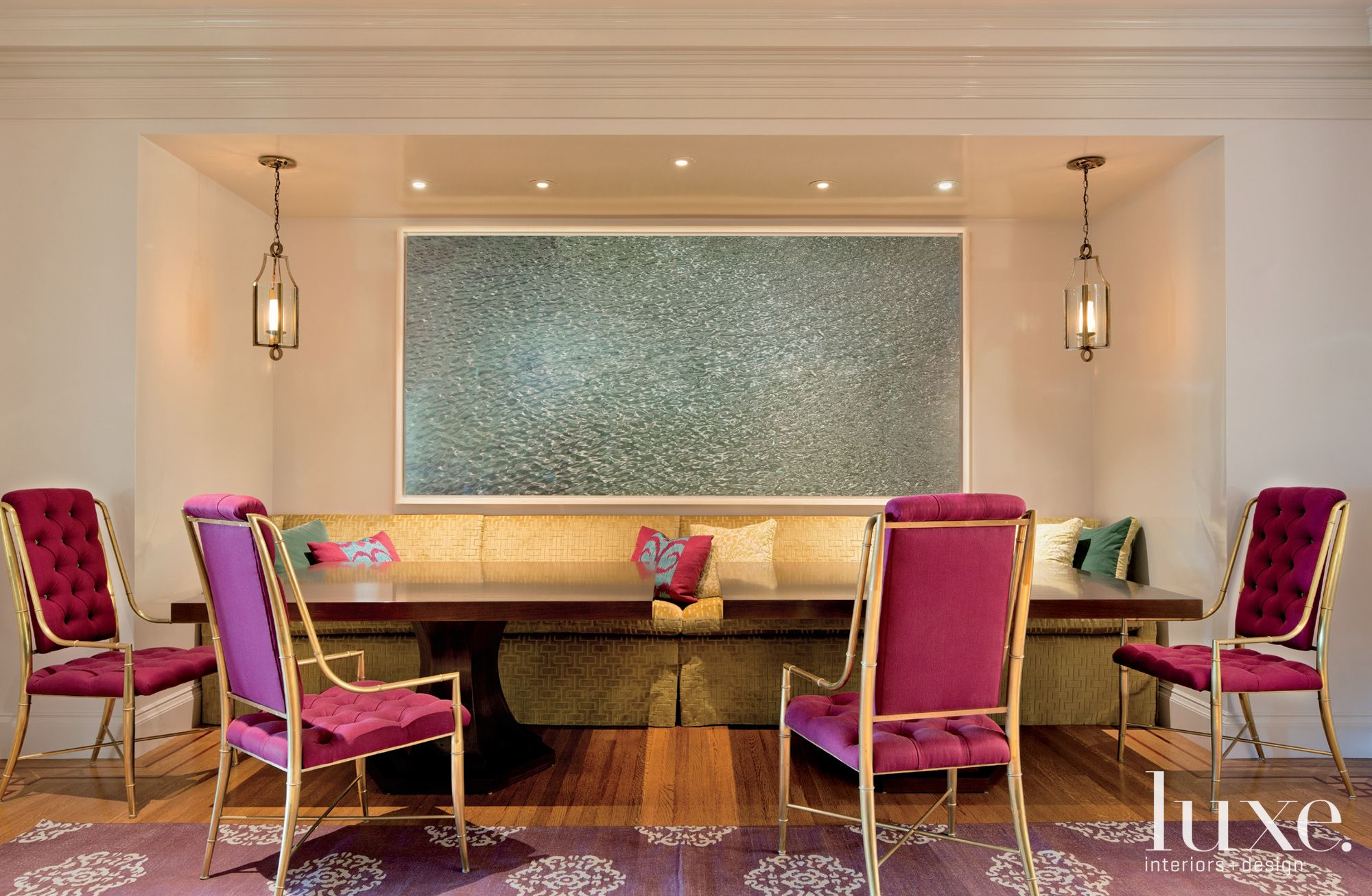 Eclectic Whtie Dining Area with Gold Banquette