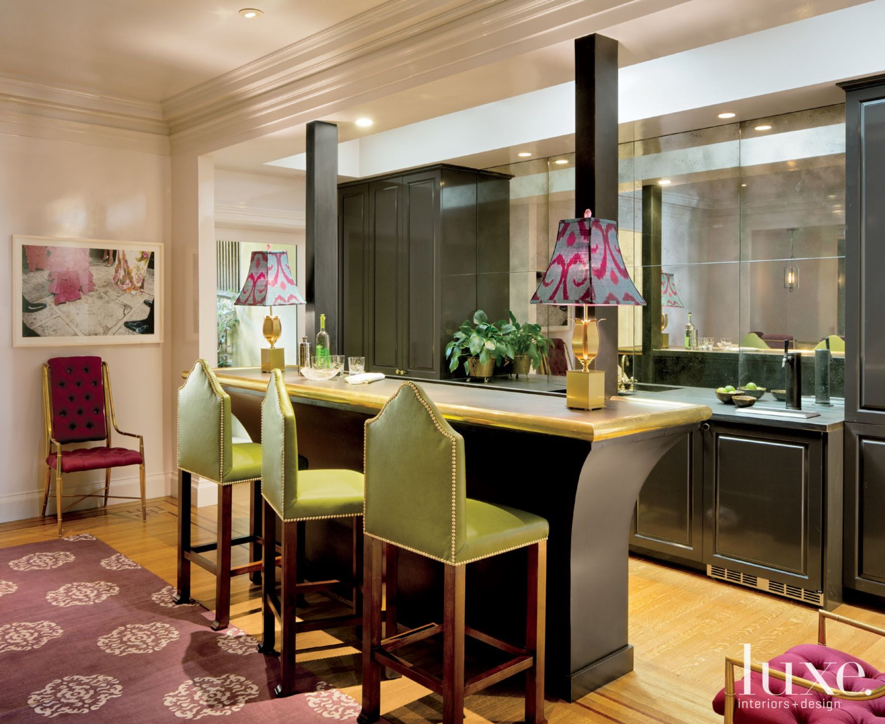 Eclectic Bar Area with Green Barstools