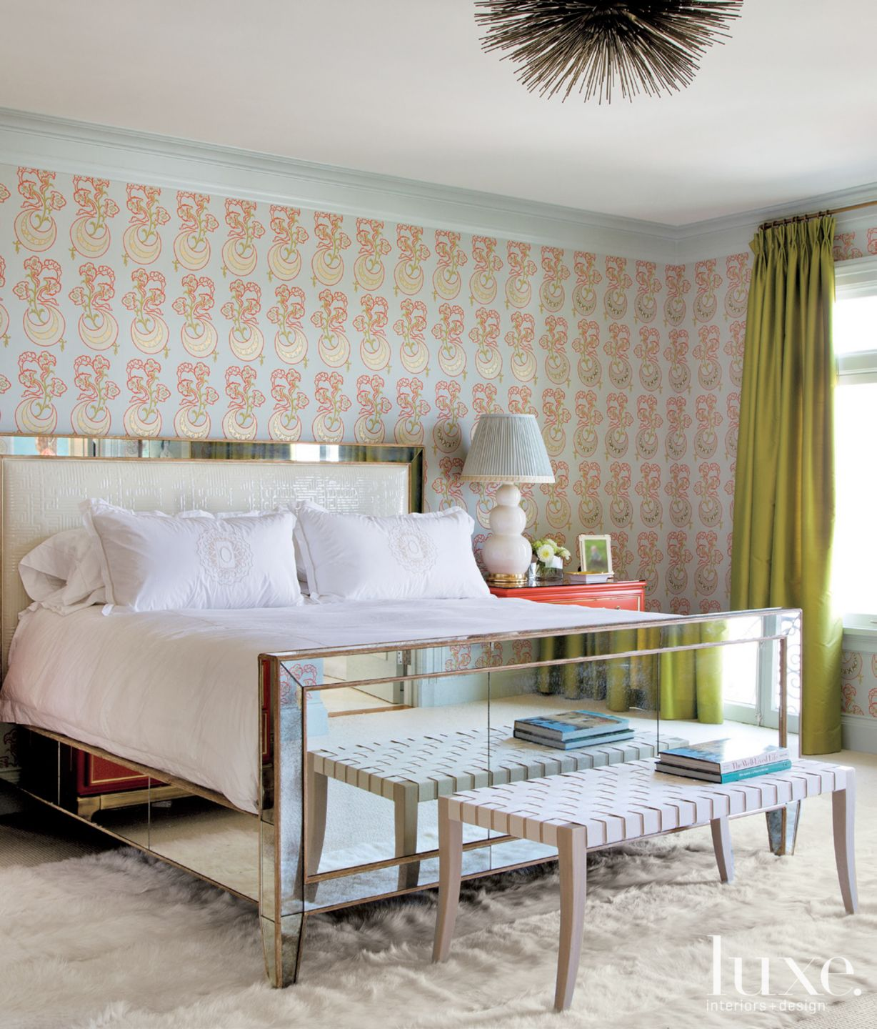 Eclectic Multicolored Bedroom with Mirrored Bed