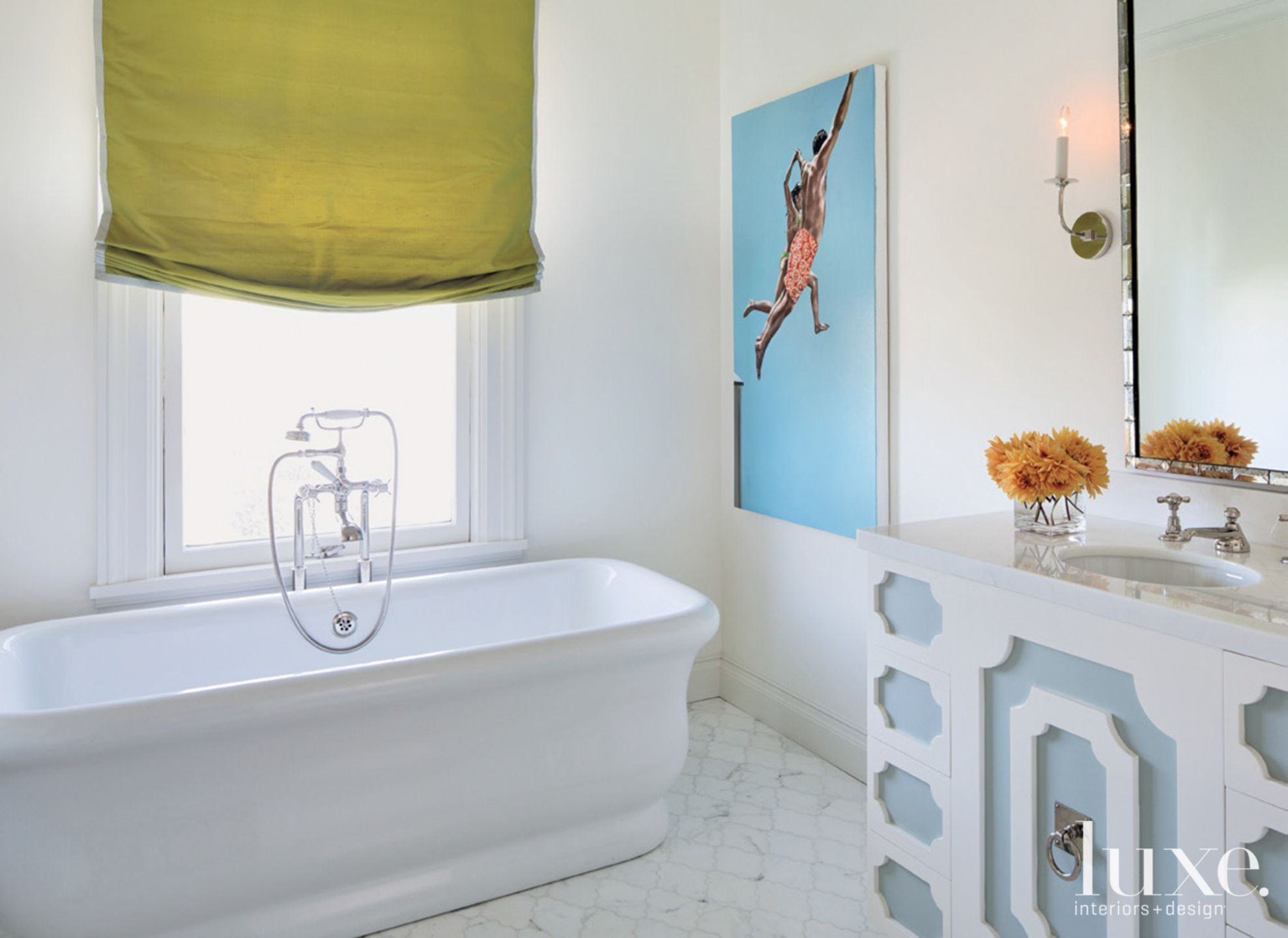 Eclectic White Bathroom with Green Shades