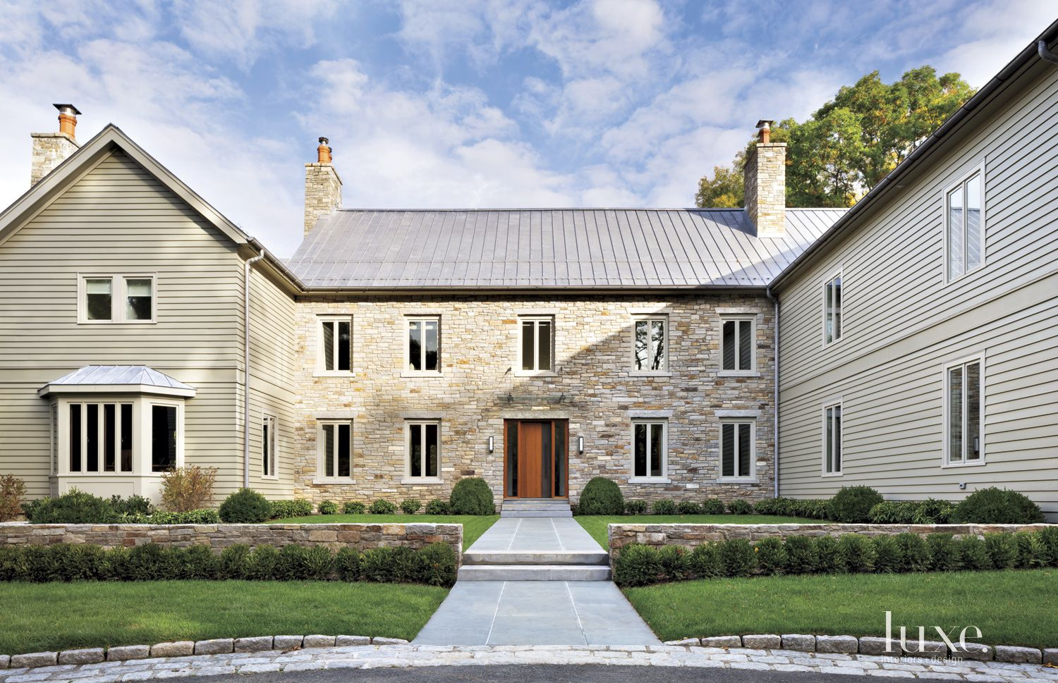 Transitional Neutral Exterior with Stone Facade