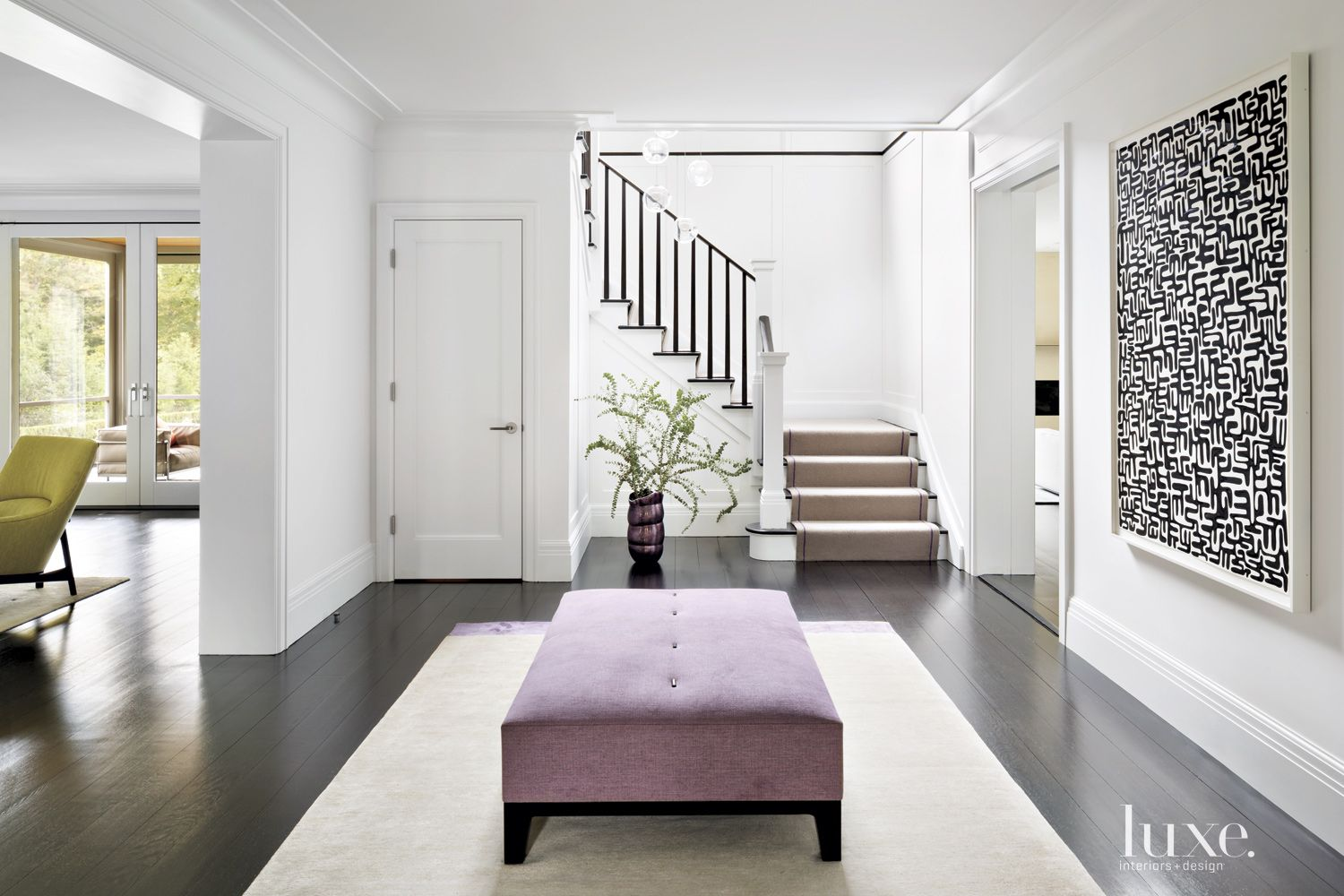 Transitional White Entry with Purple Ottoman
