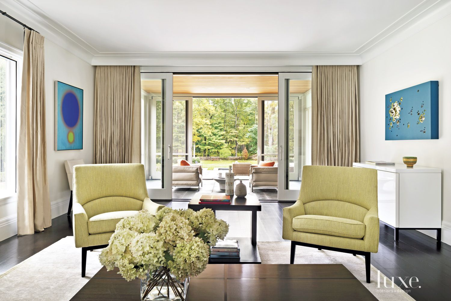 Transitional Neutral Living Room with Connected Porch