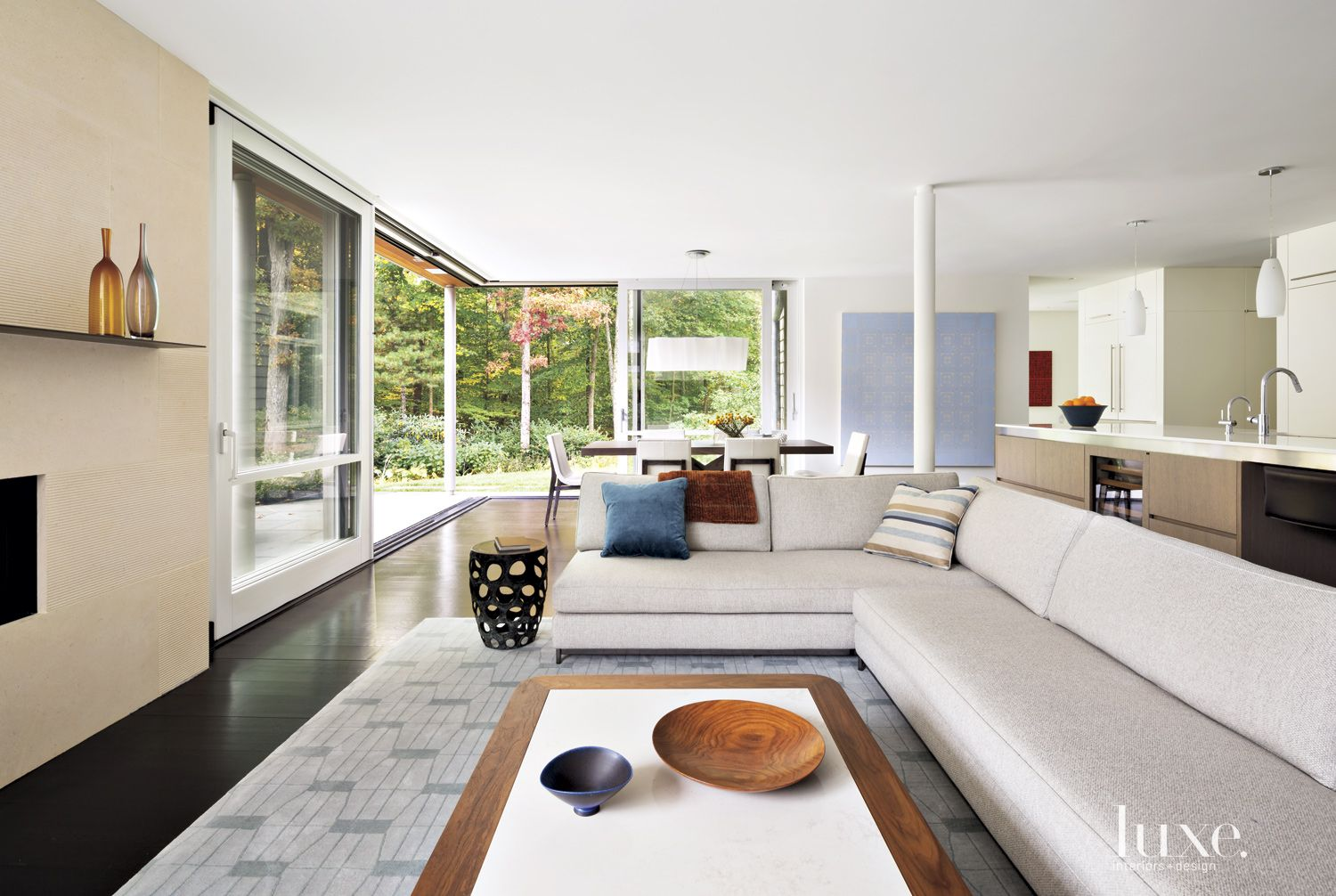 Transitional Neutral Family Room with Long Sectional