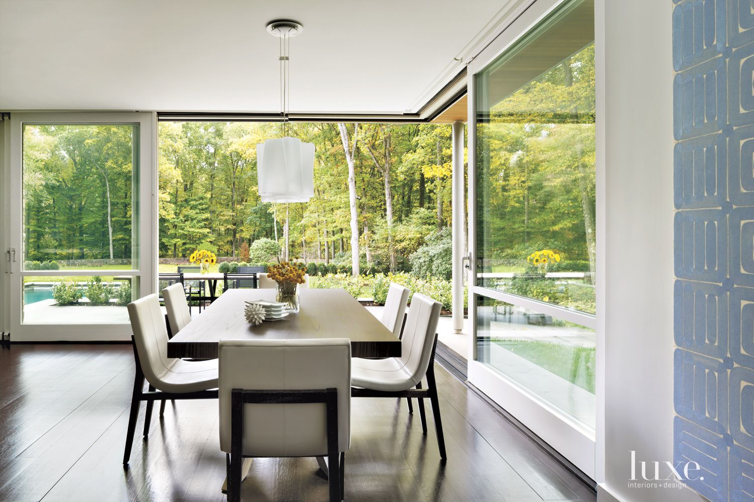 Transitional Neutral Dining Room with Sliding Glass Doors