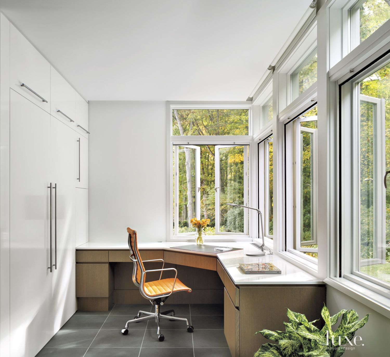 Transitional White Office with Casement Windows