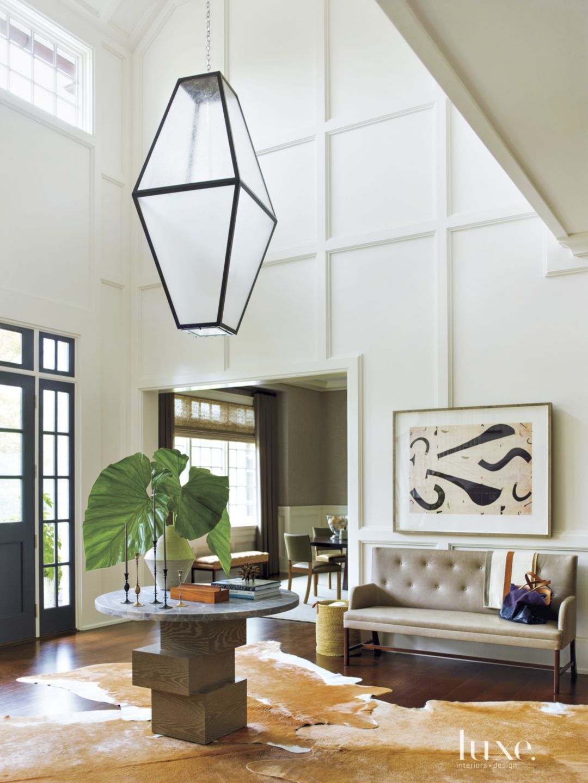 Contemporary White Foyer with Oversized Lantern