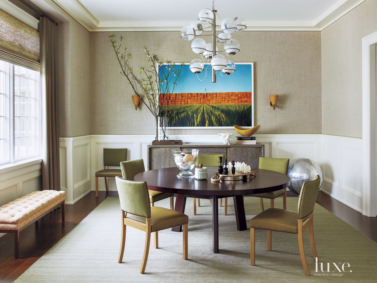 Contemporary Greige Dining Room with Linen Wallpaper
