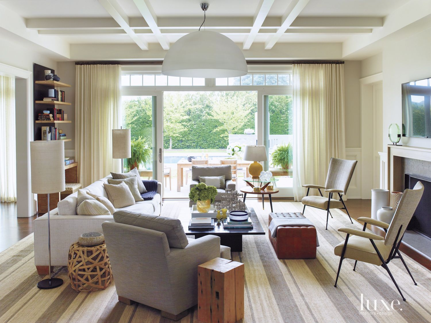 Eclectic White Great Room with Dome Pendant