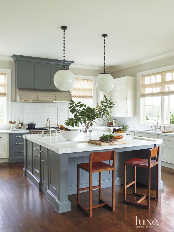 Contemporary White Kitchen with Milk-Glass Globe Pendants