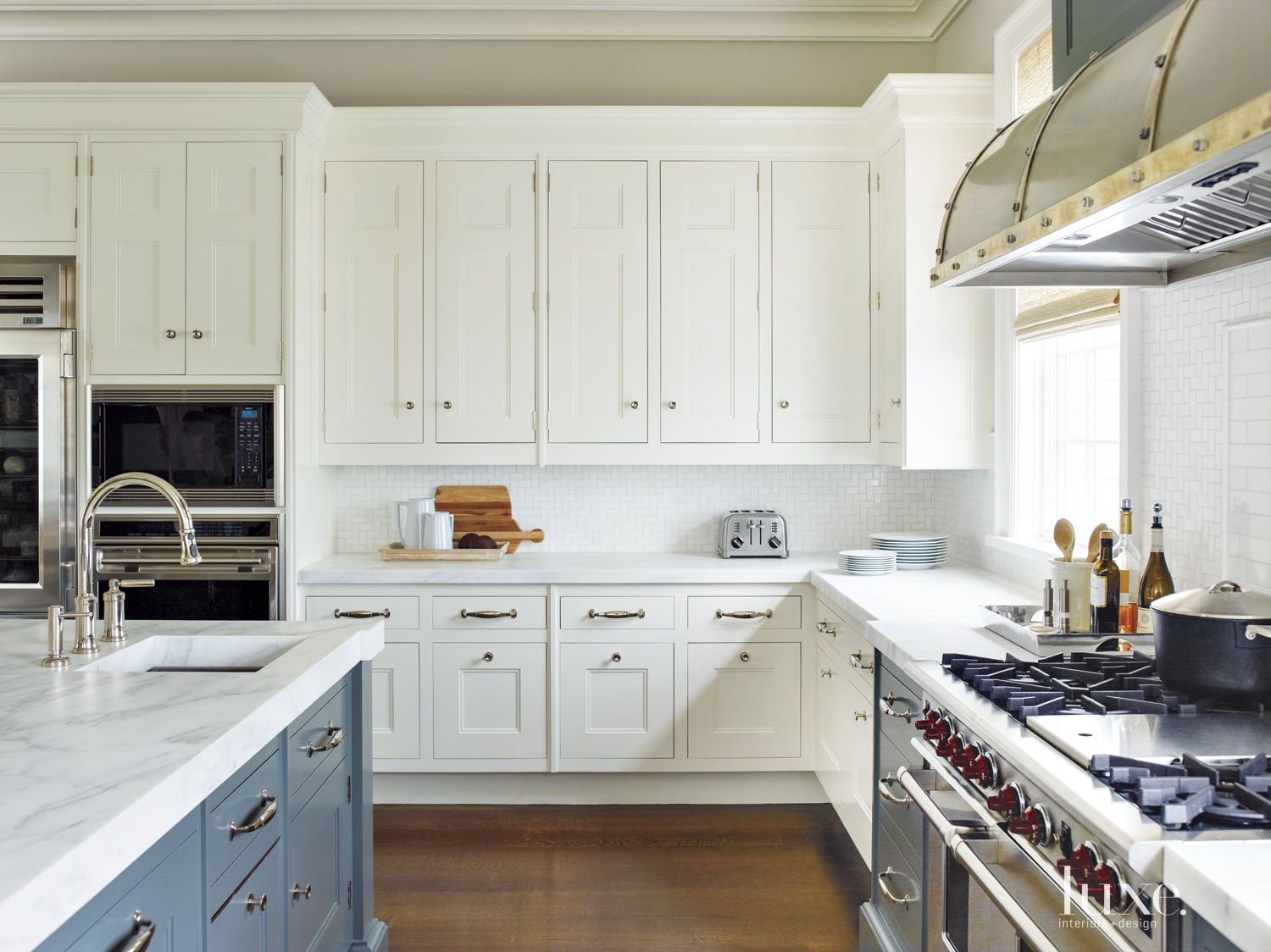 Contemporary White Kitchen with White Cabinetry