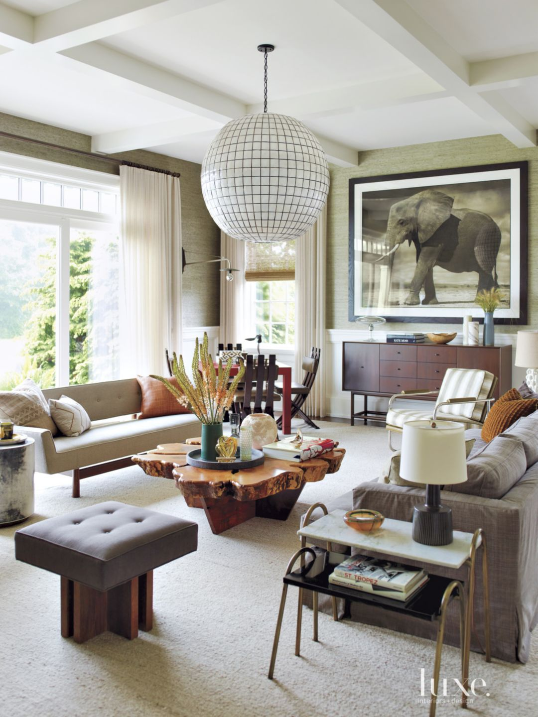 Eclectic Neutral Living Room with Oversized Pendant