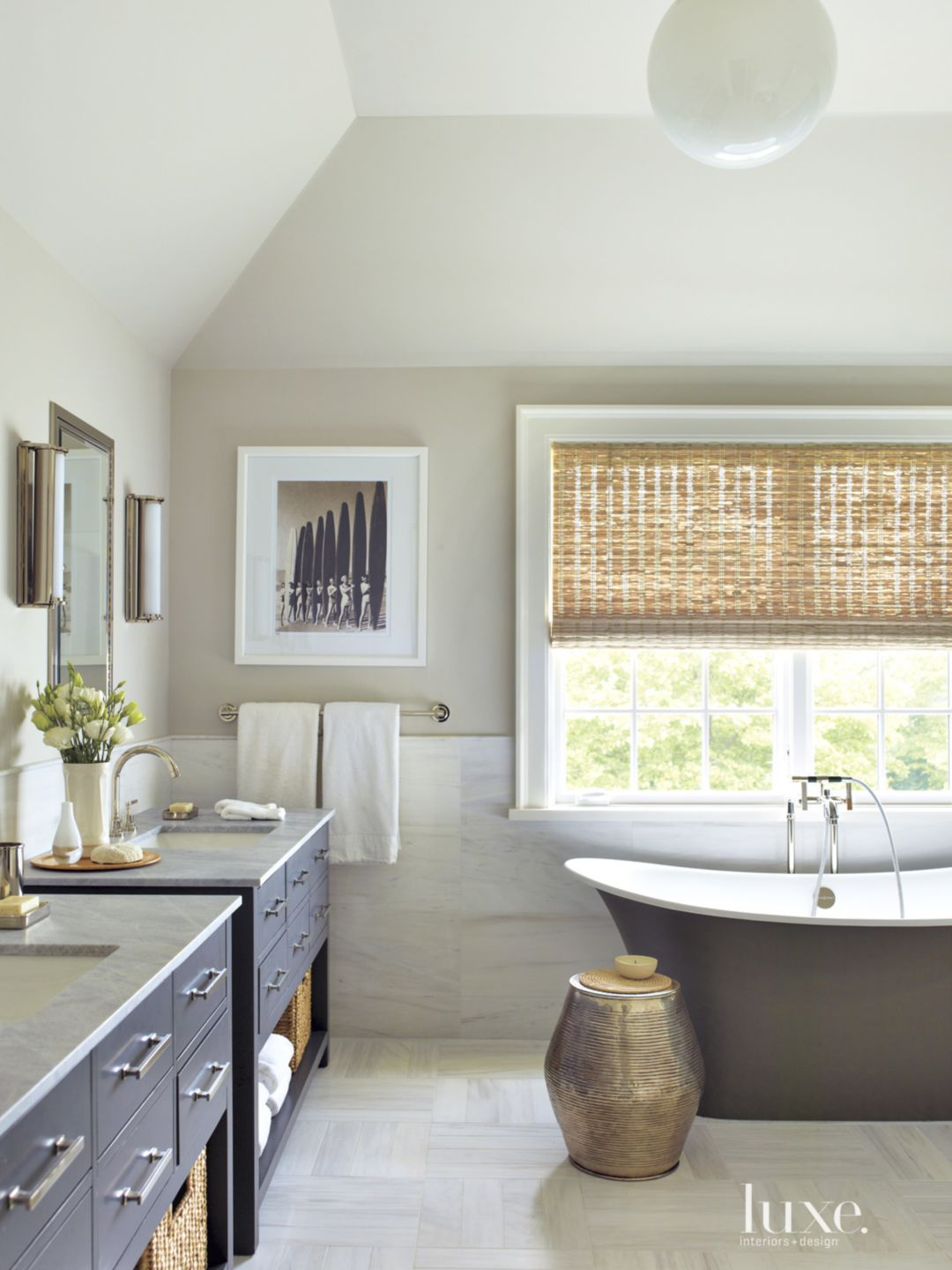 Contemporary White Bathroom with Twin Vanities