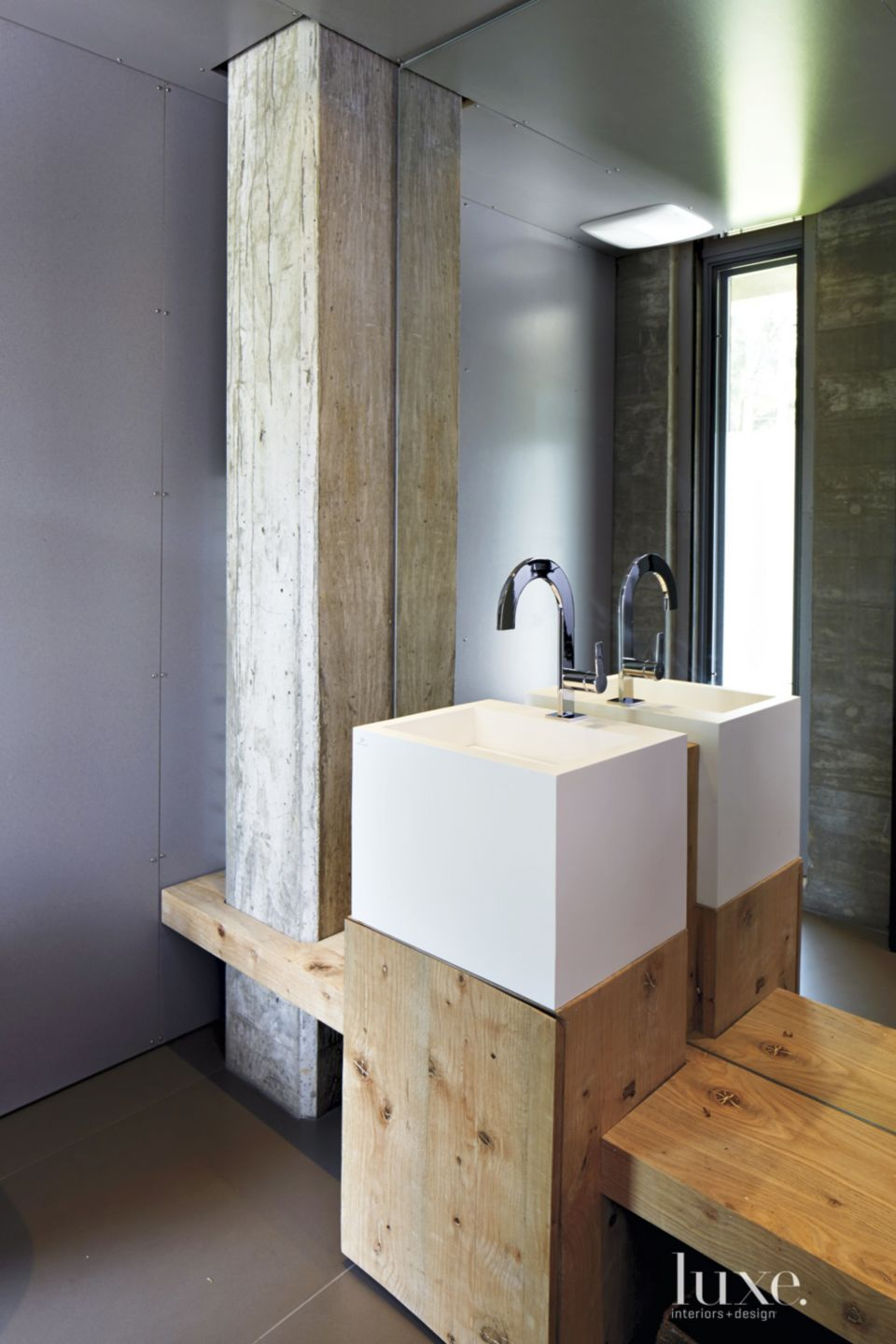 Modern Neutral Powder Room with Salvaged Beam