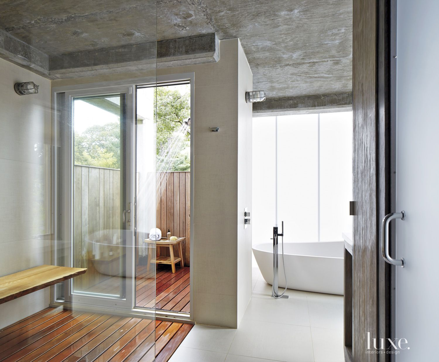 Modern Neutral Bathroom with Outdoor Shower