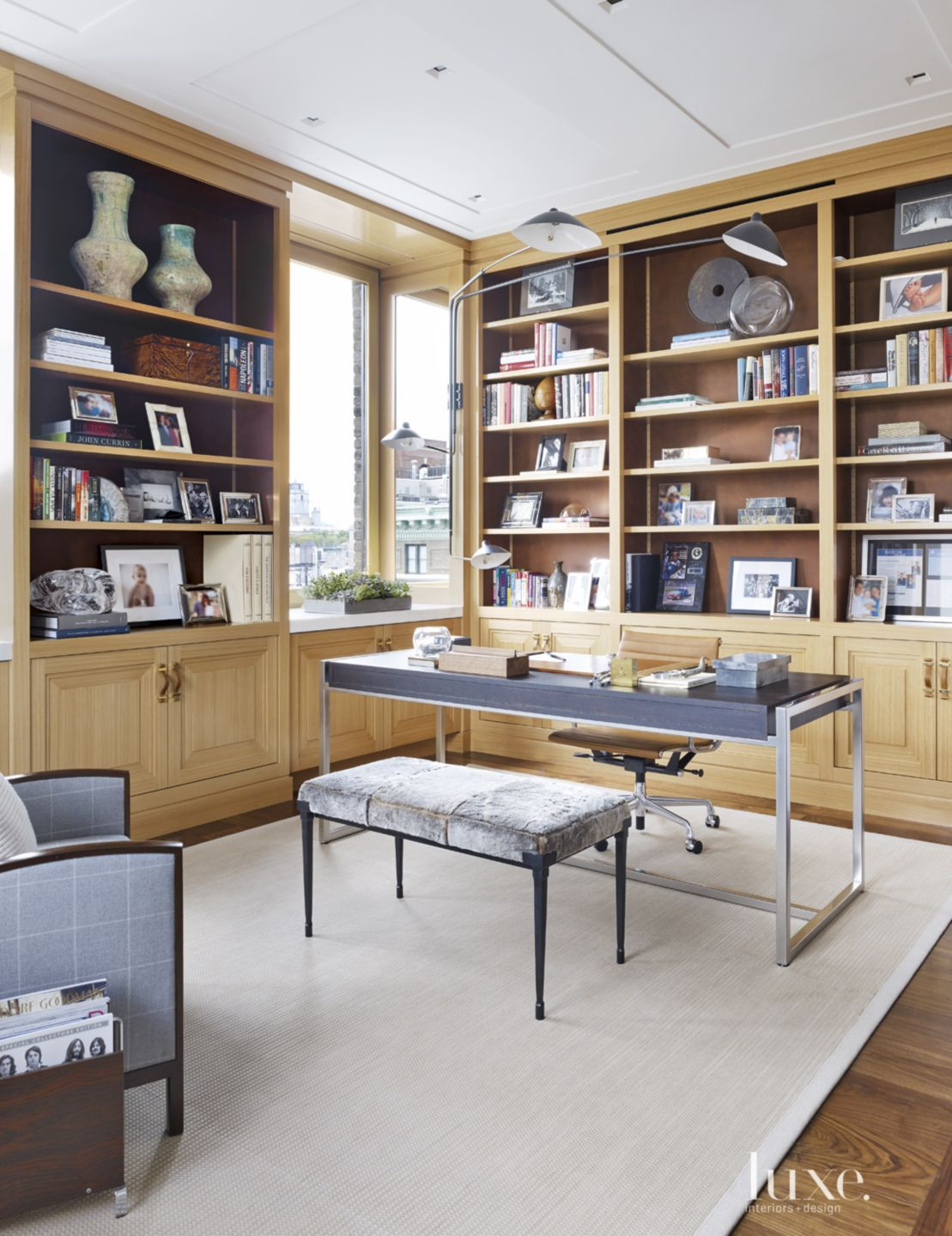 Modern Neutral Library with Shearling Bench