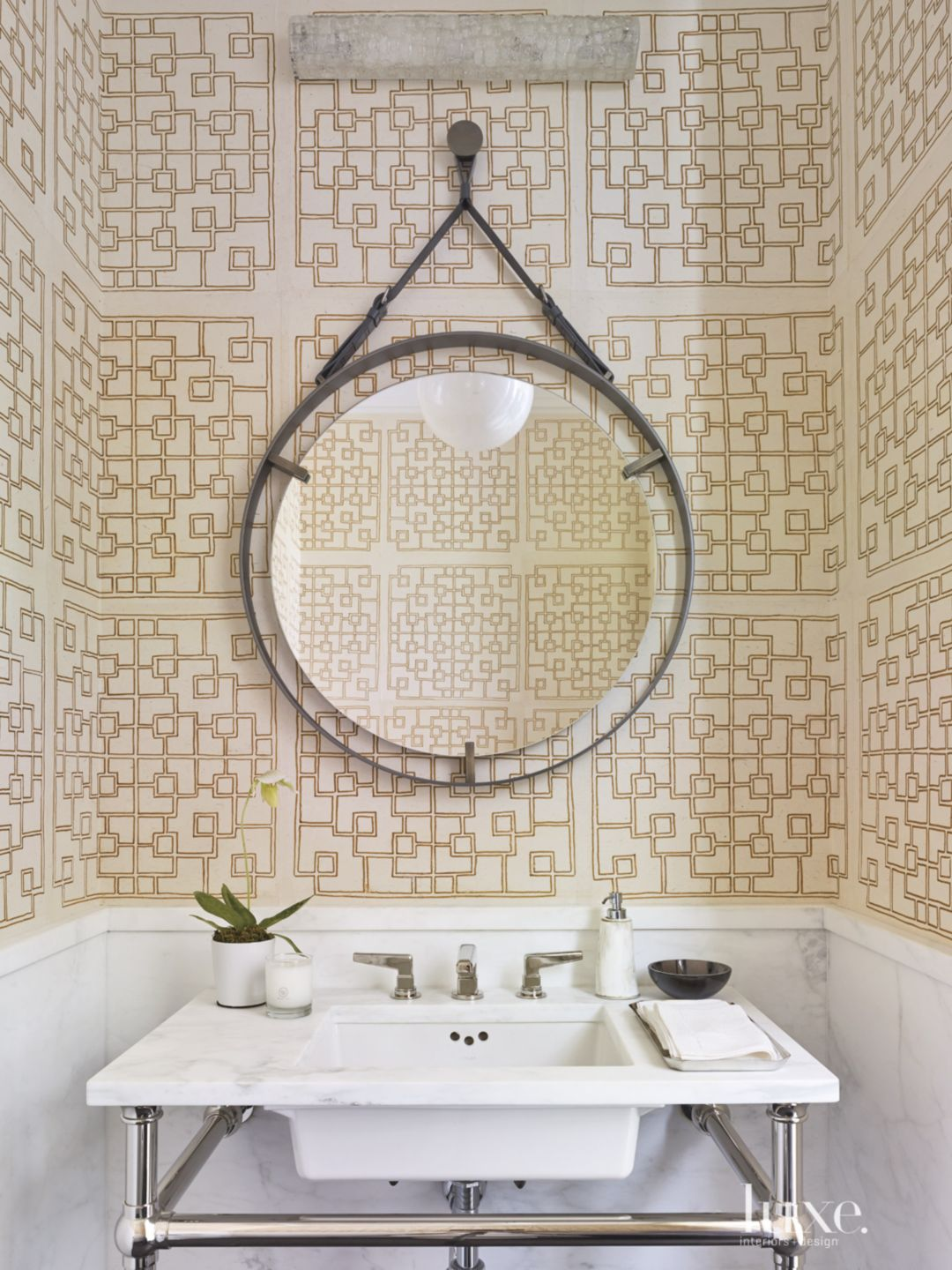 Modern Neutral Powder Room with Handmade Wallpaper