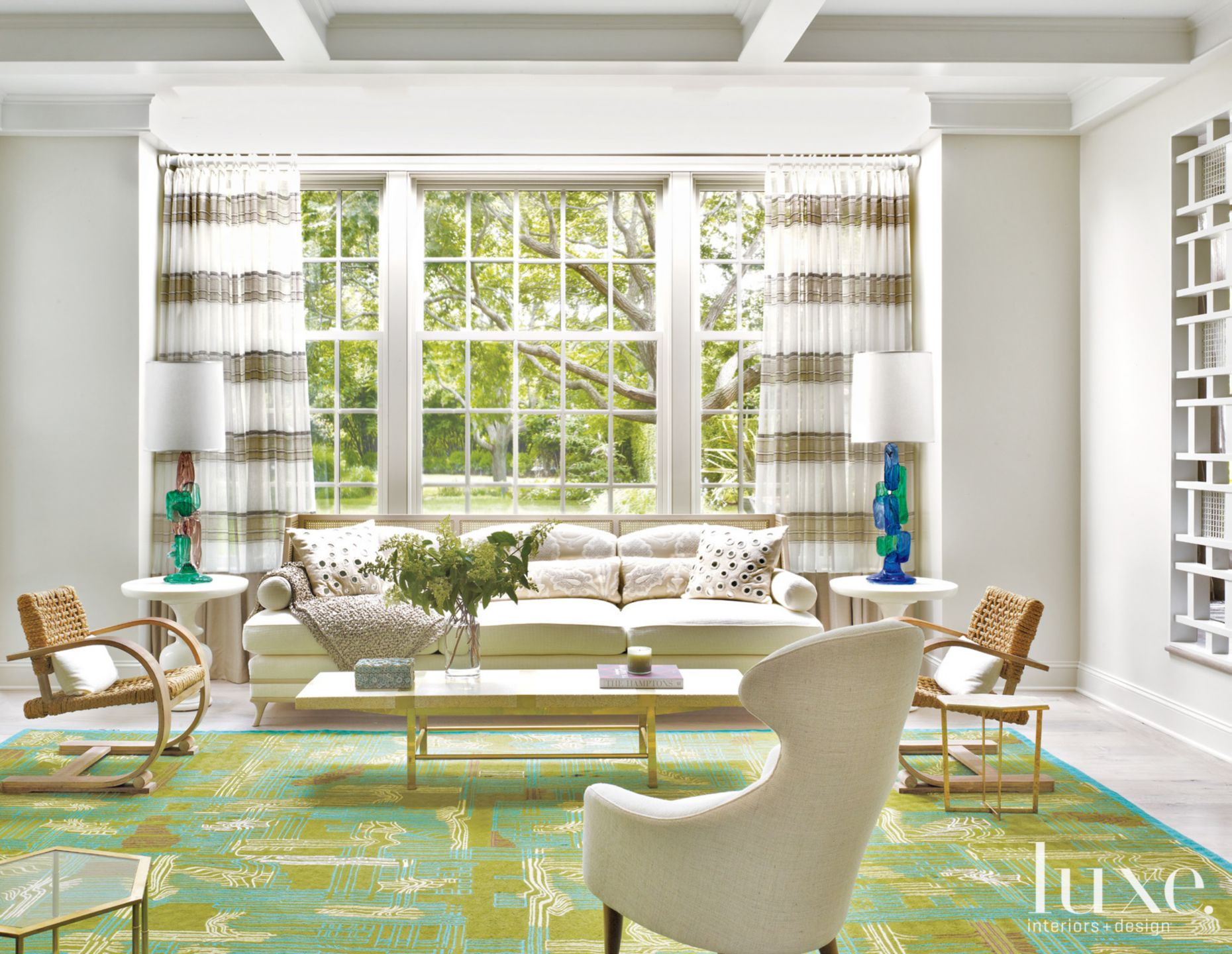 Eclectic Living Room with Green Rug