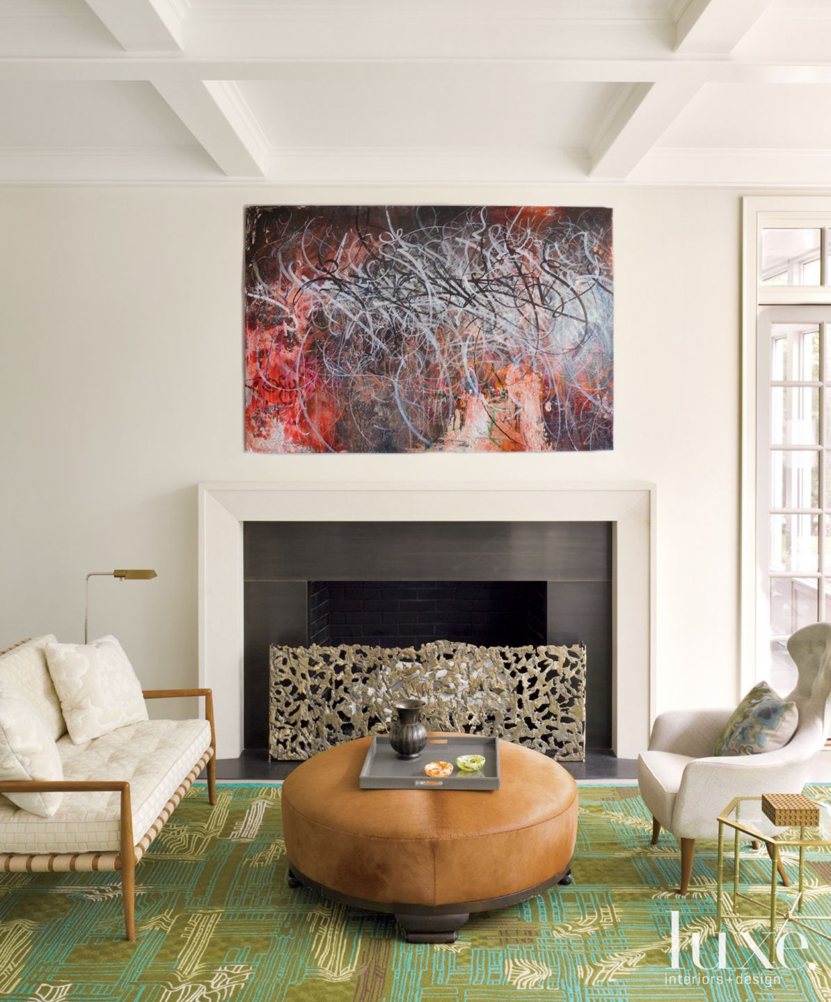 Fireplace in Transitional Living Room