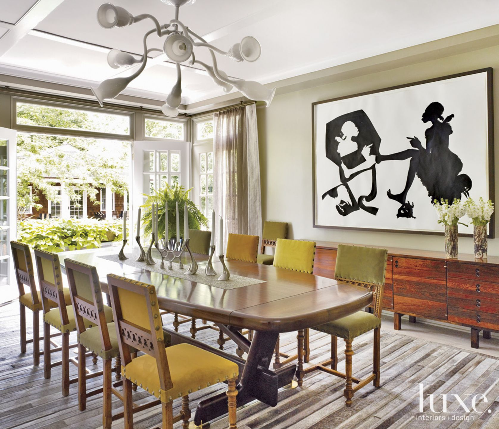 Neutral Eclectic Dining Room with Green Accents