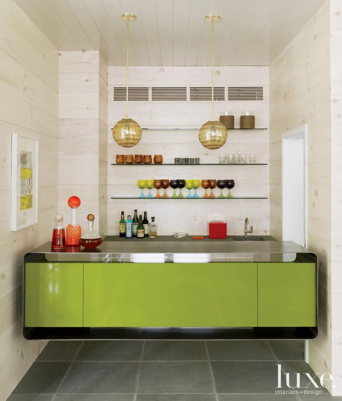 Green Modern Built In Bar