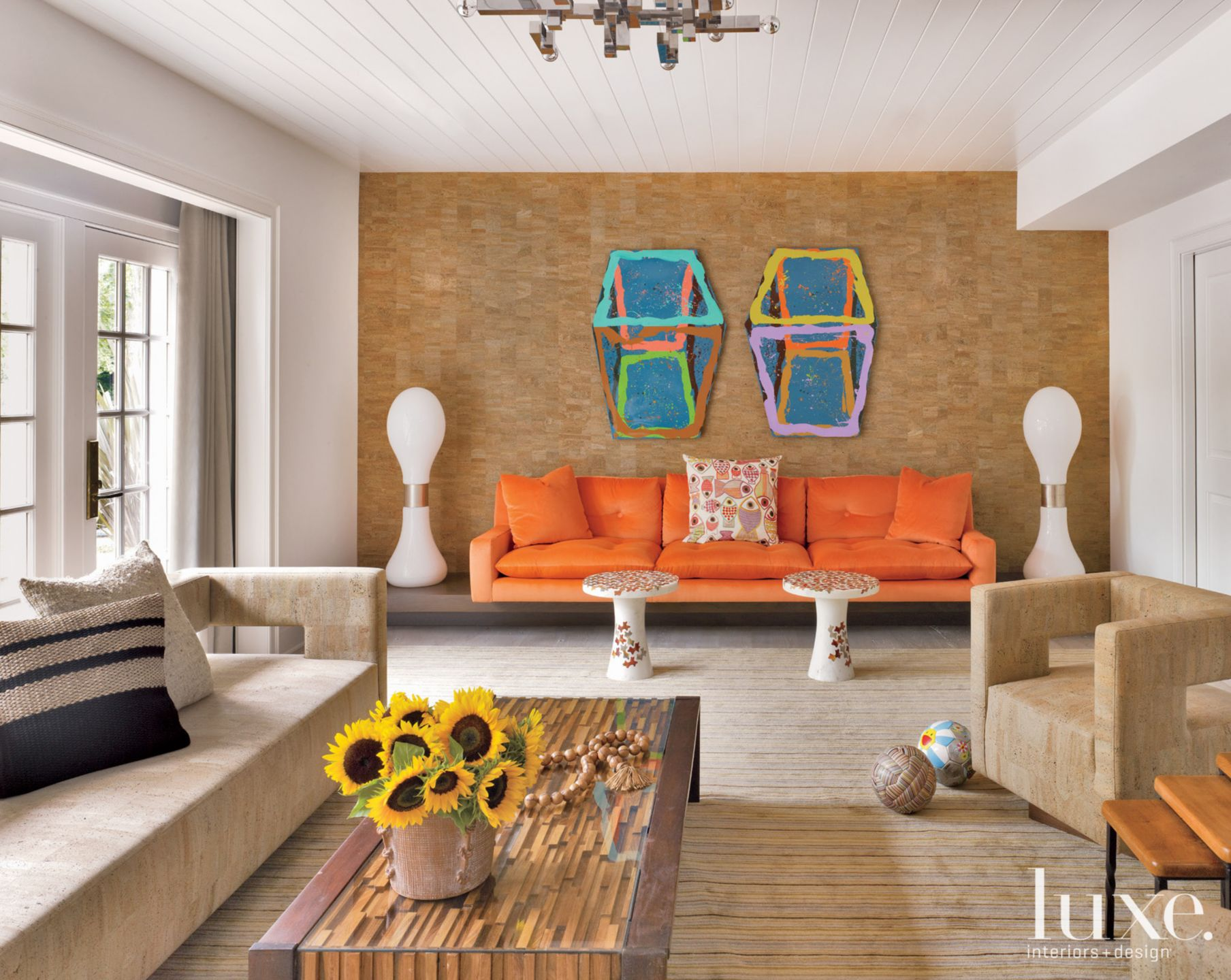 Neutral Contemporary Family Room with Cork Wallcovering and Orange Sofa