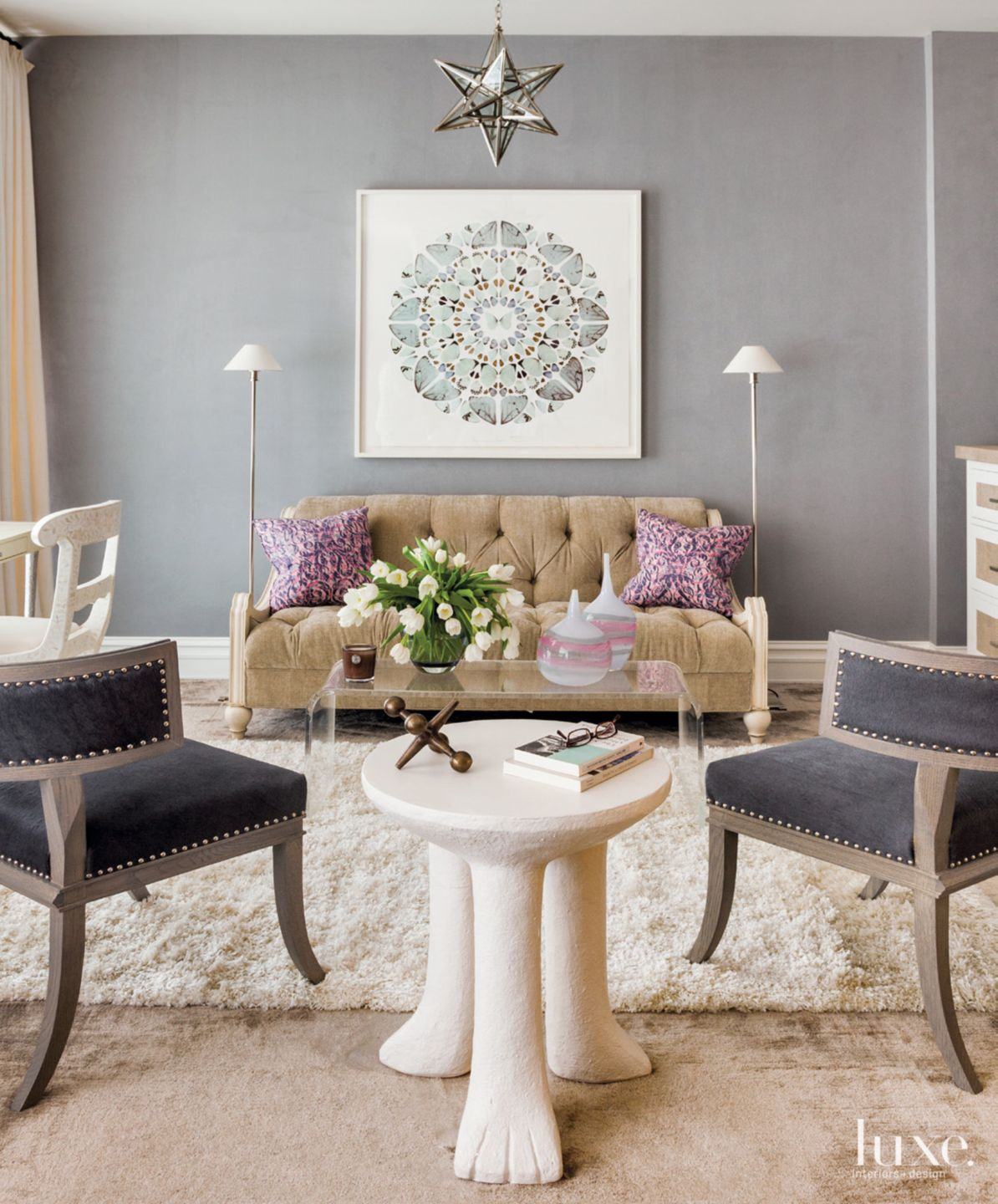 Eclectic Gray Living Room with Star Pendant