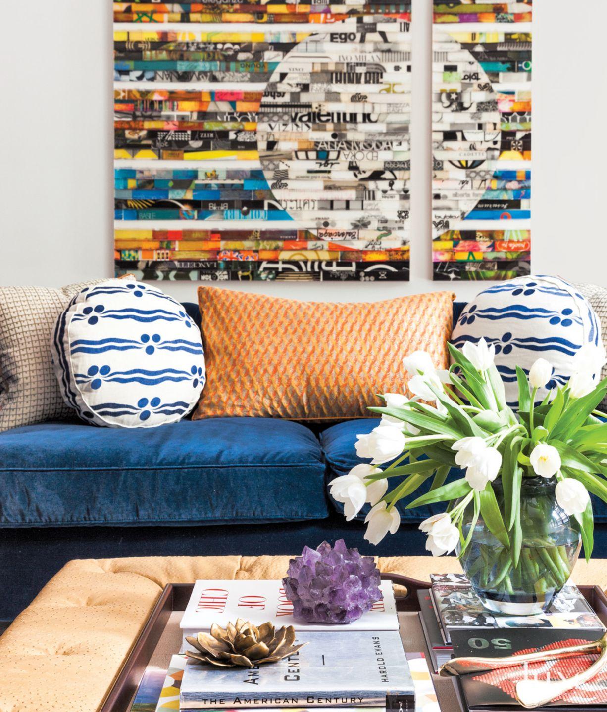 Eclectic White Living Room Detail with Blue Velvet Sofa