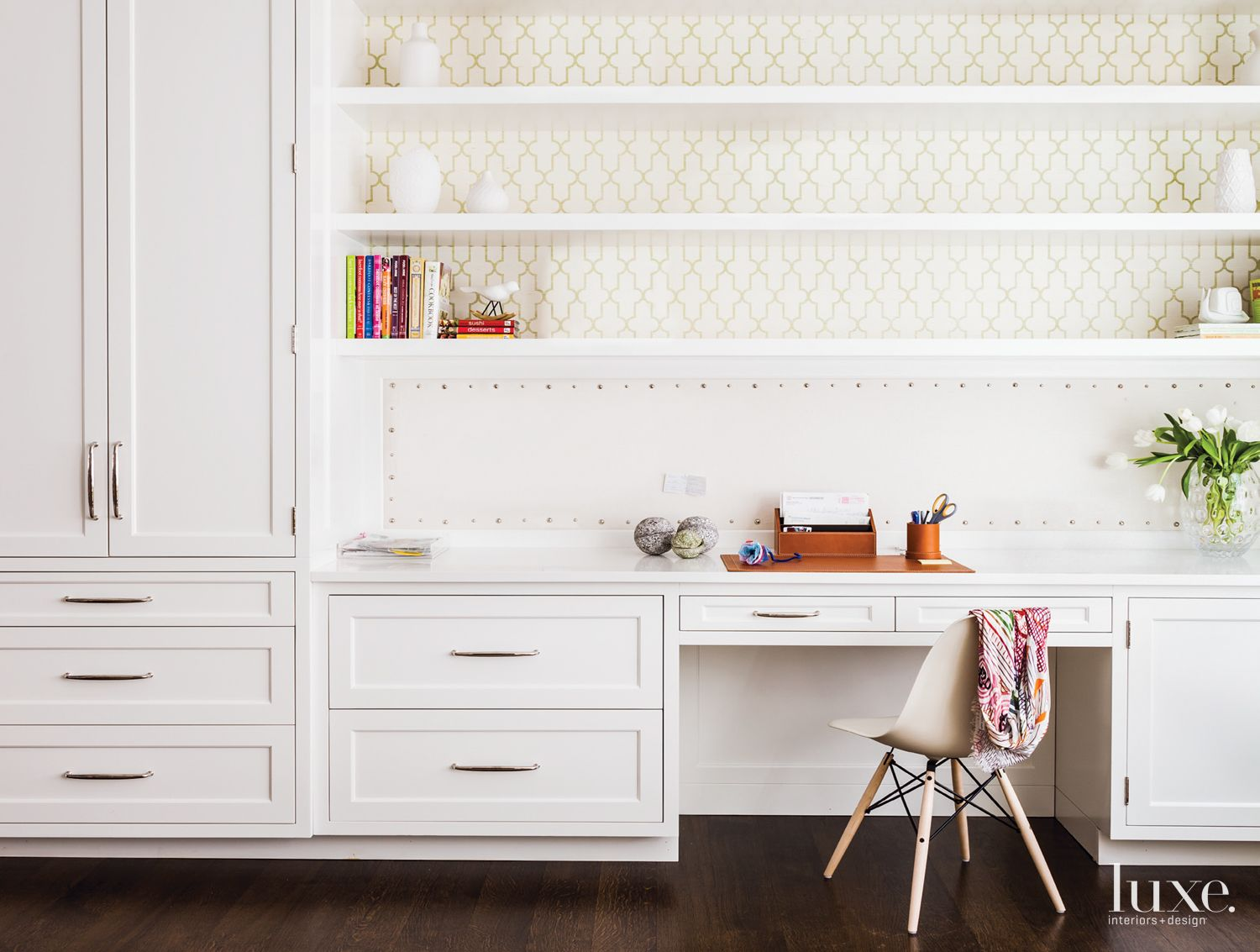 Contemporary White Study with Patterned Wallpaper