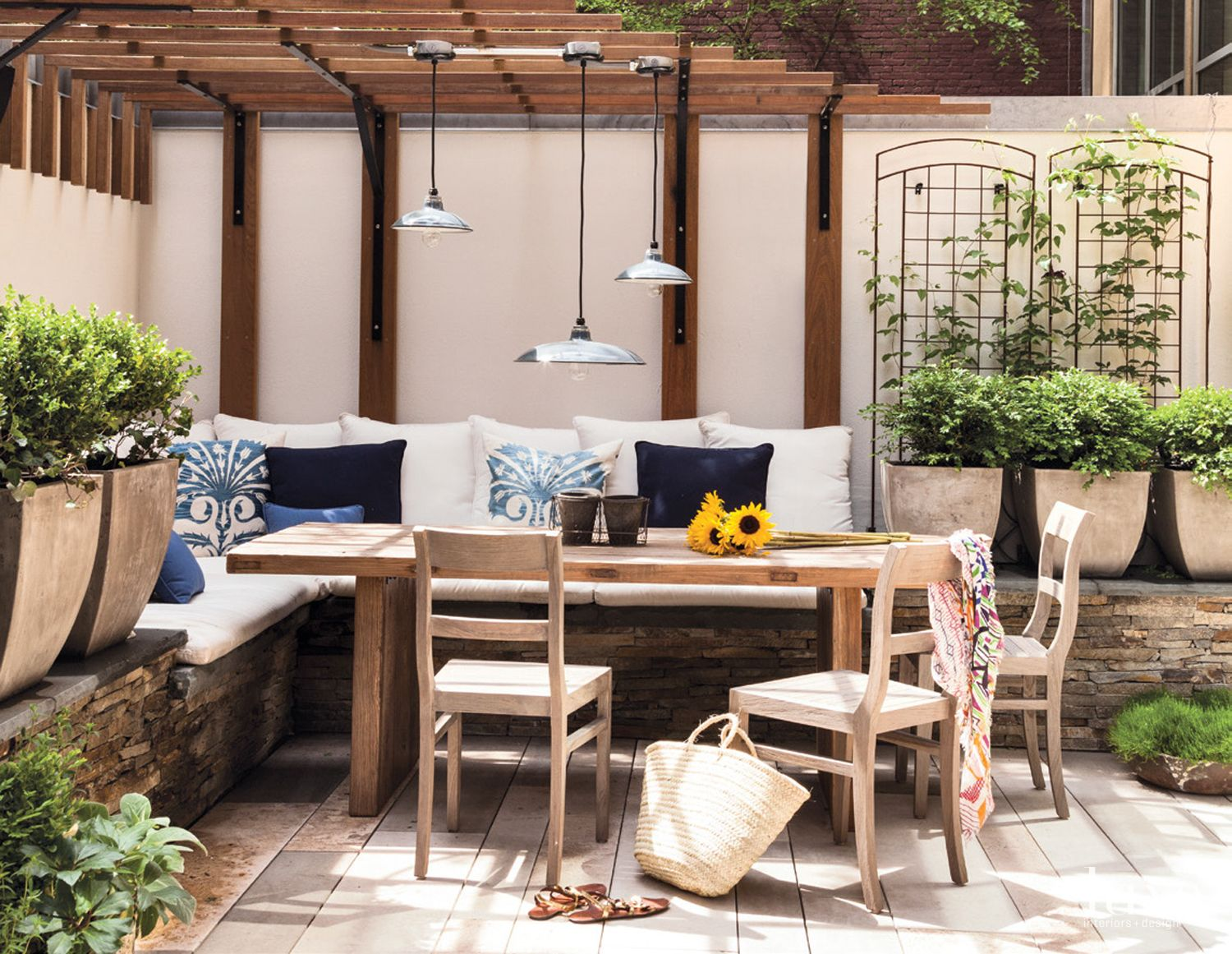 Contemporary White Patio Detail with Potting Table