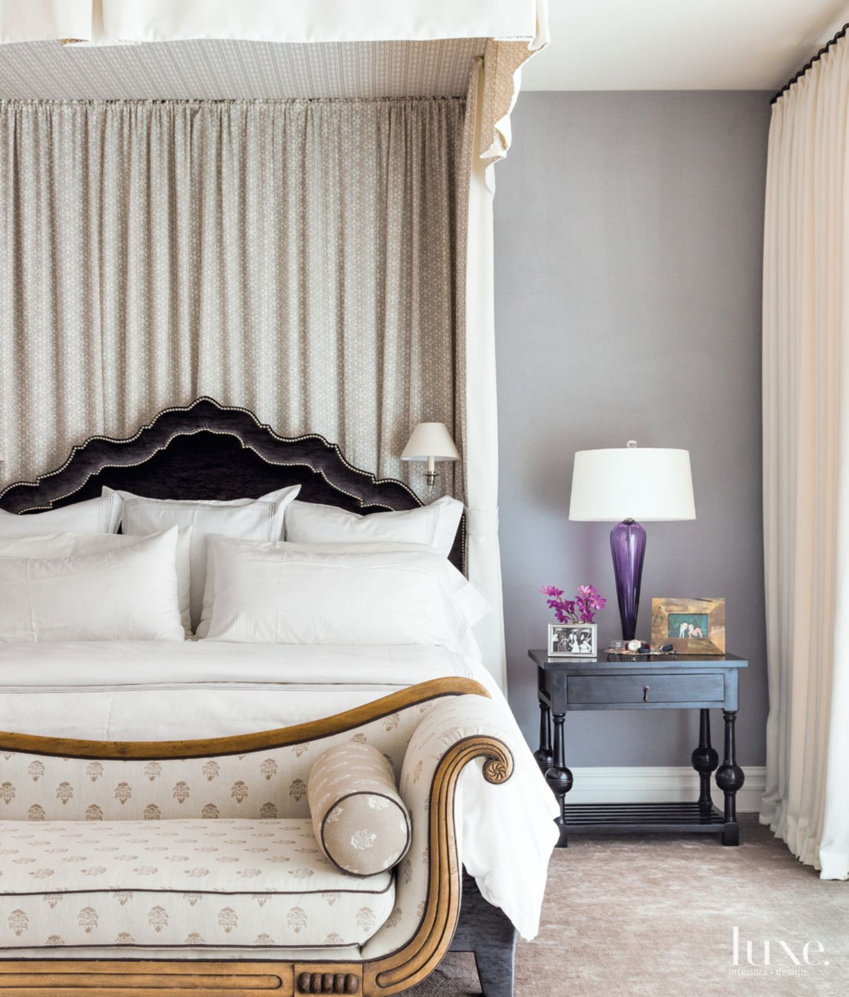 Eclectic Gray Bedroom with Linen Canopy