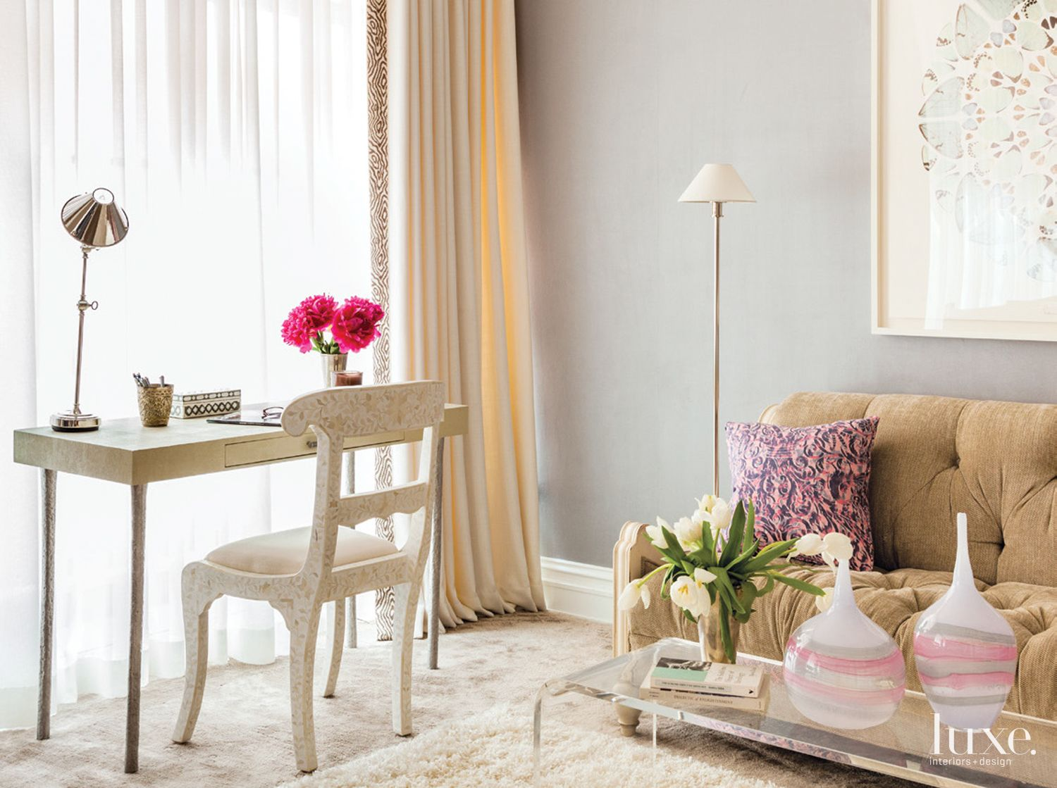 Eclectic Gray Bedroom Sitting Area with Settee