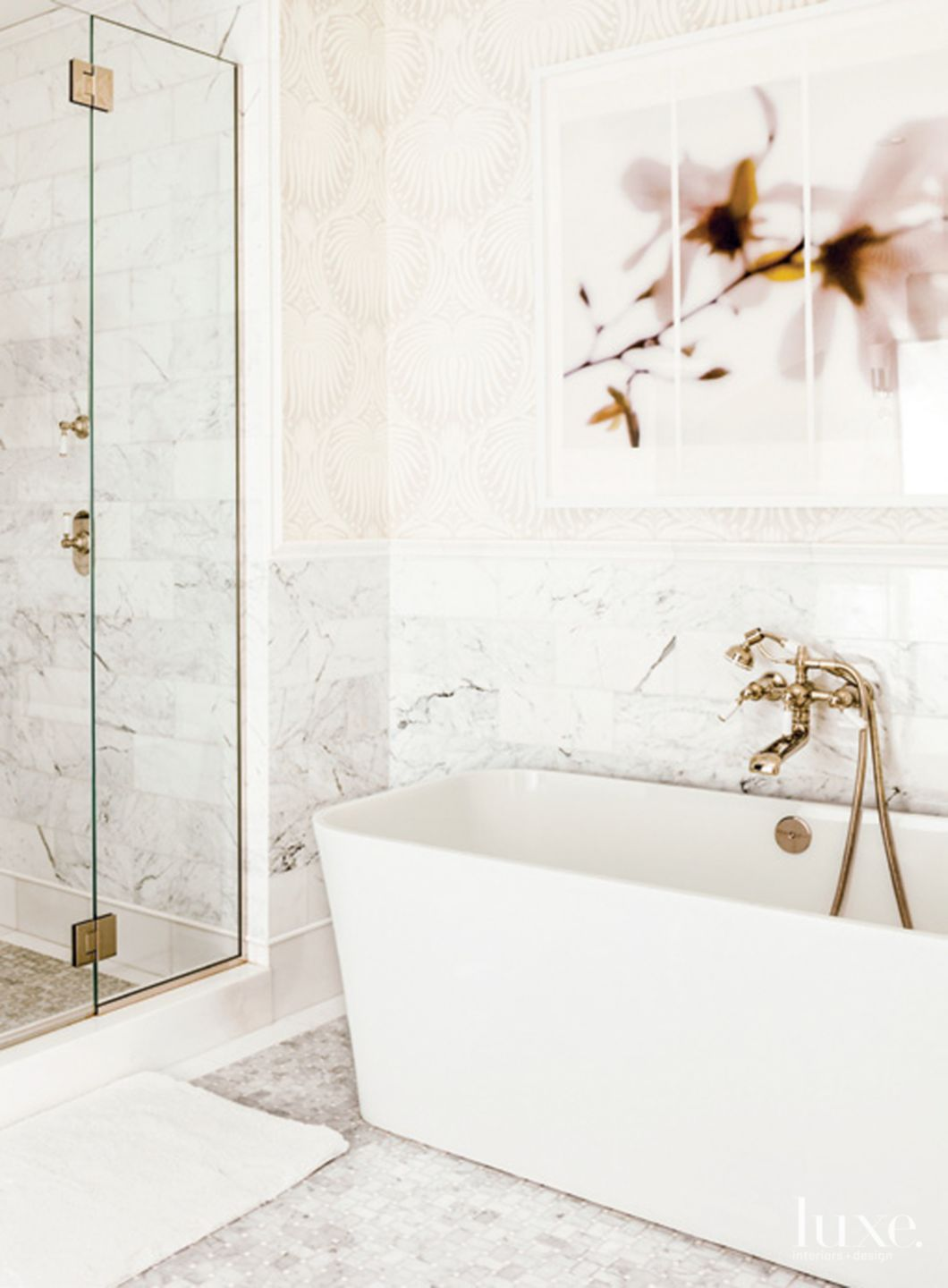 Contemporary White Bathroom with Patterned Wallpaper