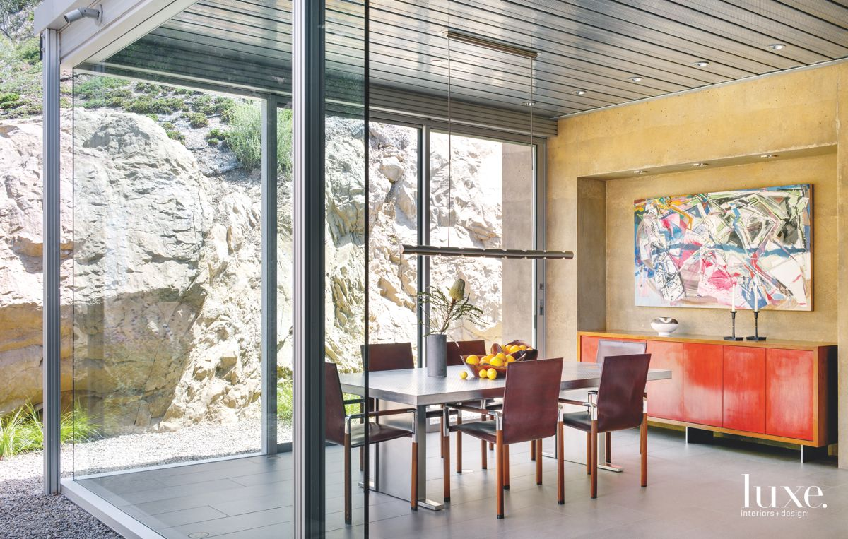Dining Room with Rocky View and Contemporary Pieces