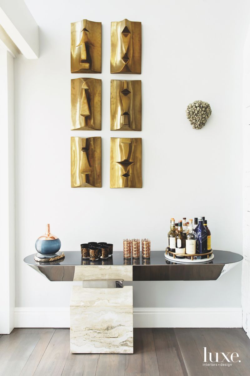 Abstract Brass Artwork Wall with Contemporary Bar