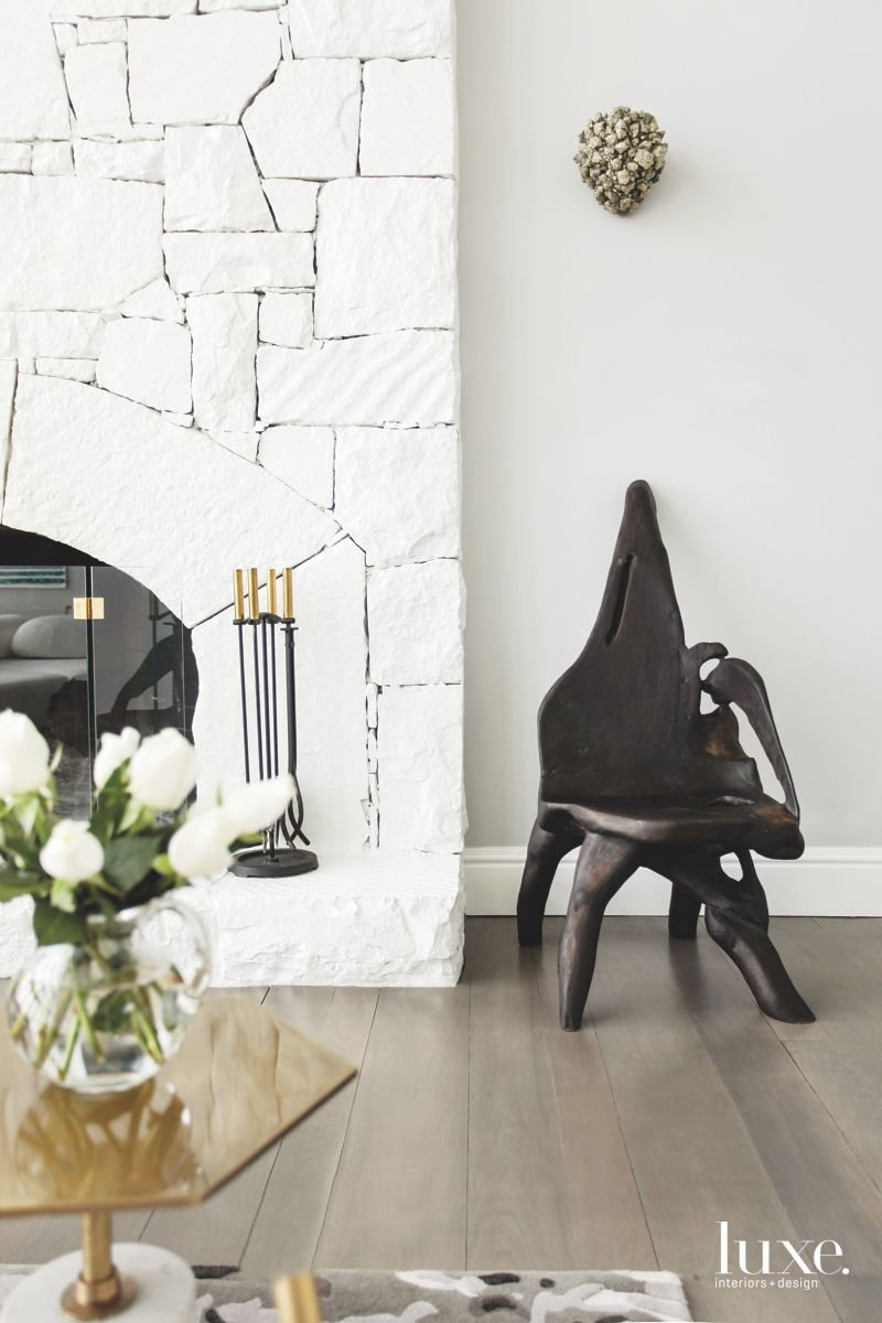 White Painted Fireplace with Organic Seating