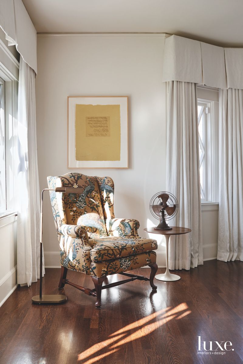 Patterned Chair Fabric Corner Master Bedroom and Artwork