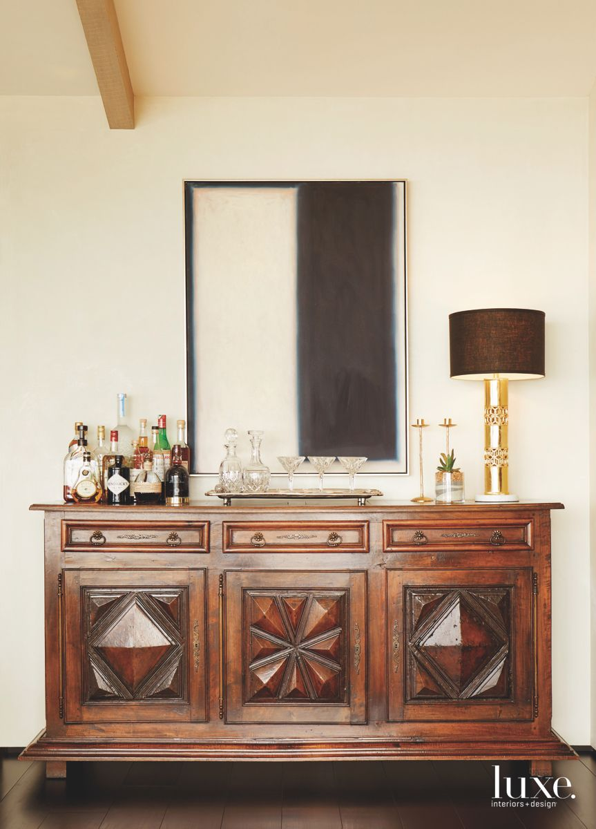 Wooden Bar Cocktail Cabinet Chest with Artwork Above and Lamp