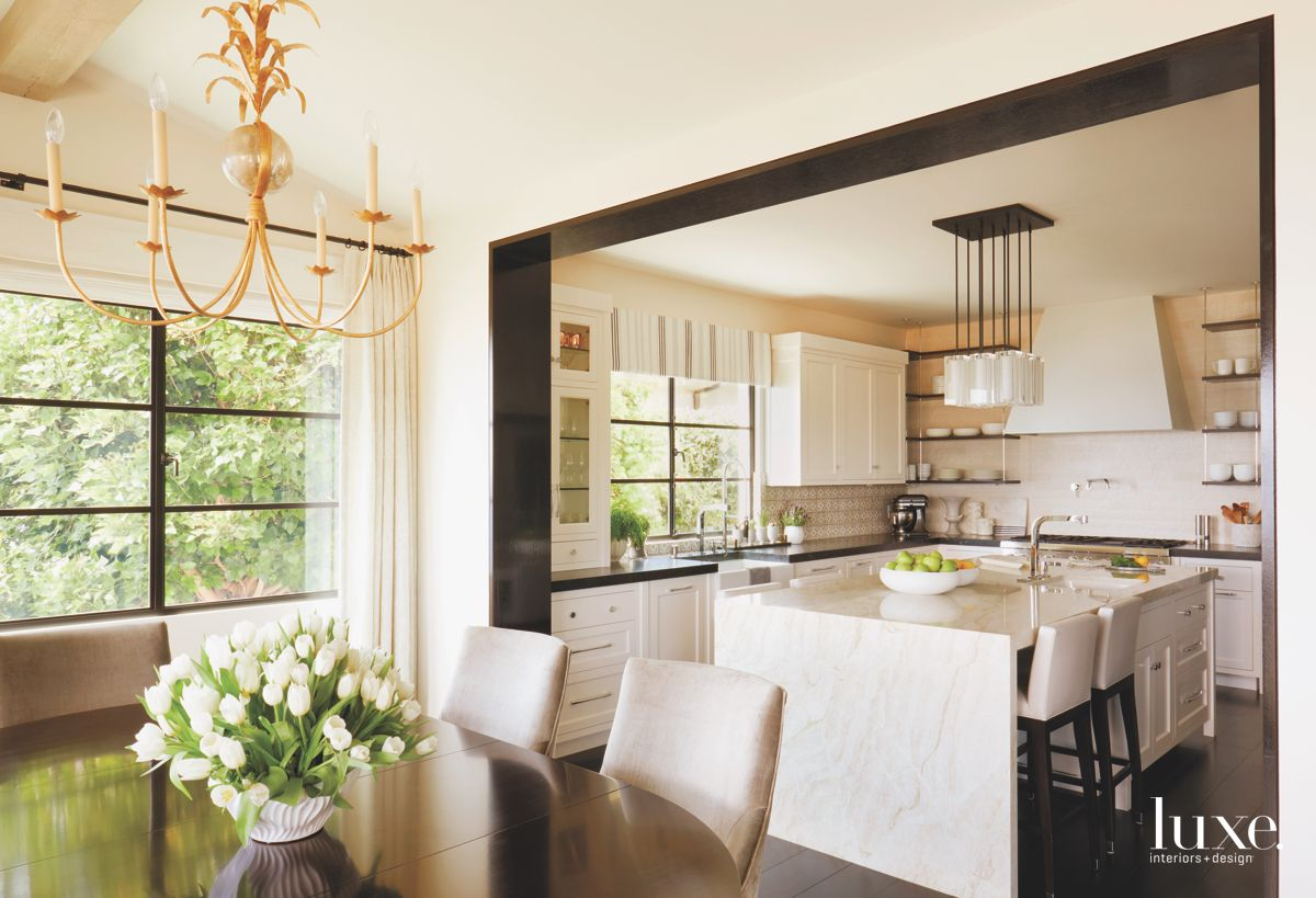 Fun Traditional Chandelier with Tulip Flowers in Dining Room with Kitchen View